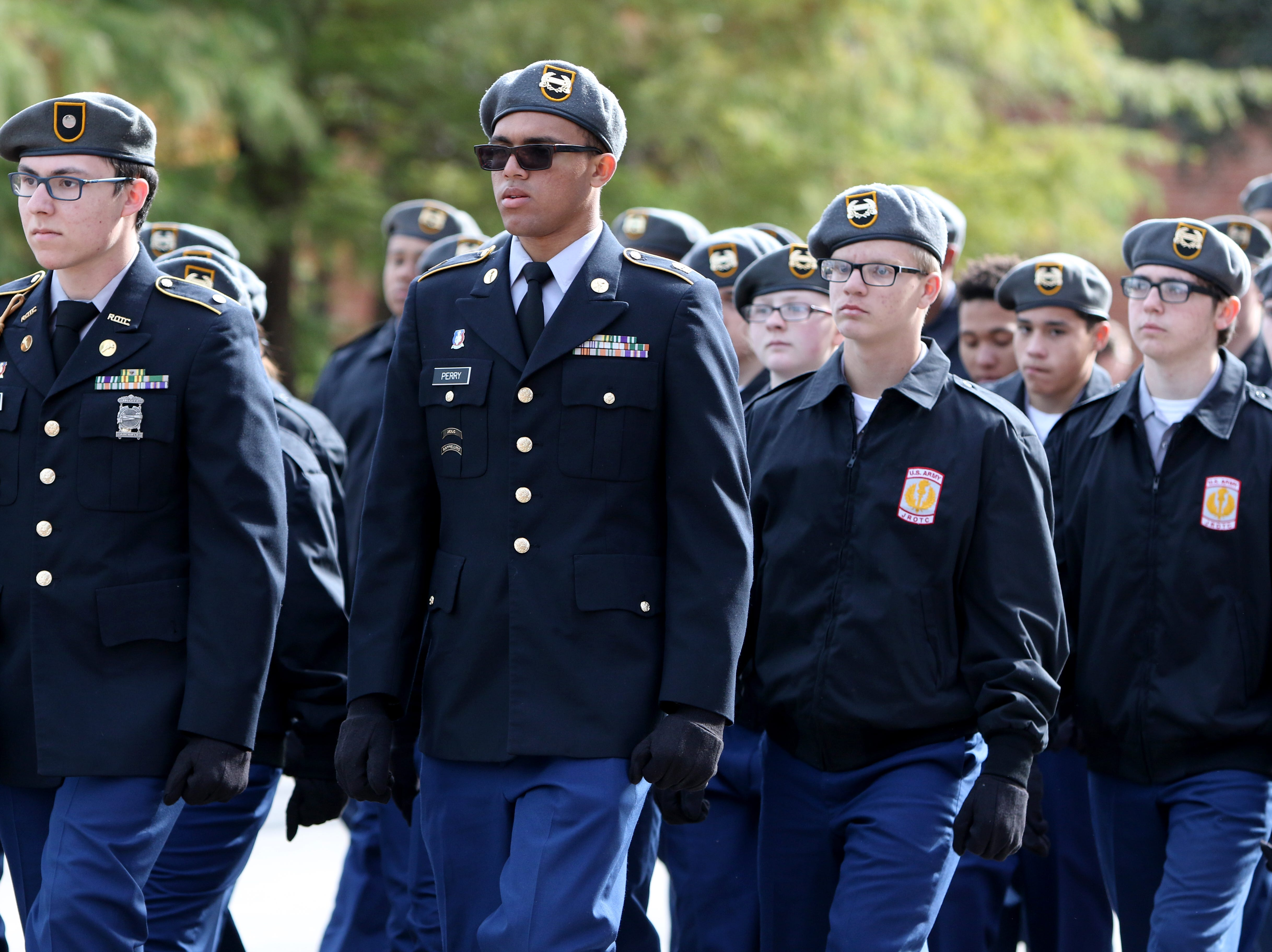 The Hirschi High School JROTC takes part in the Veterans Day parade Saturday, Nov. 10, 2018, in downtown Wichita Falls on the 100th anniversary of the Armistice of Compiègne that ended fighting in World War I.
