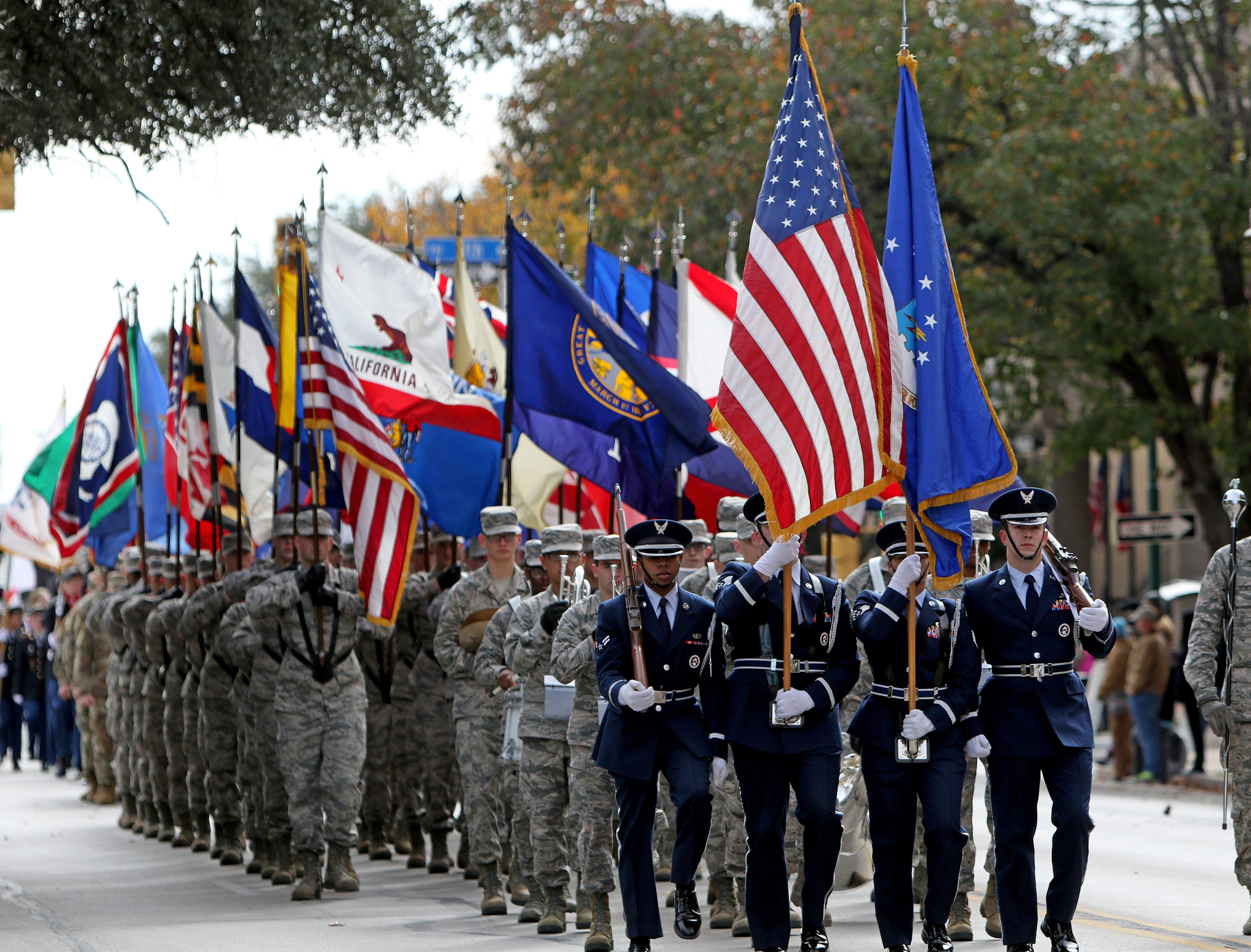 Members of the active duty military take part in the Veterans Day parade Saturday, Nov. 10, 2018, in downtown Wichita Falls on the 100th anniversary of the Armistice of Compiègne that ended fighting in World War I.