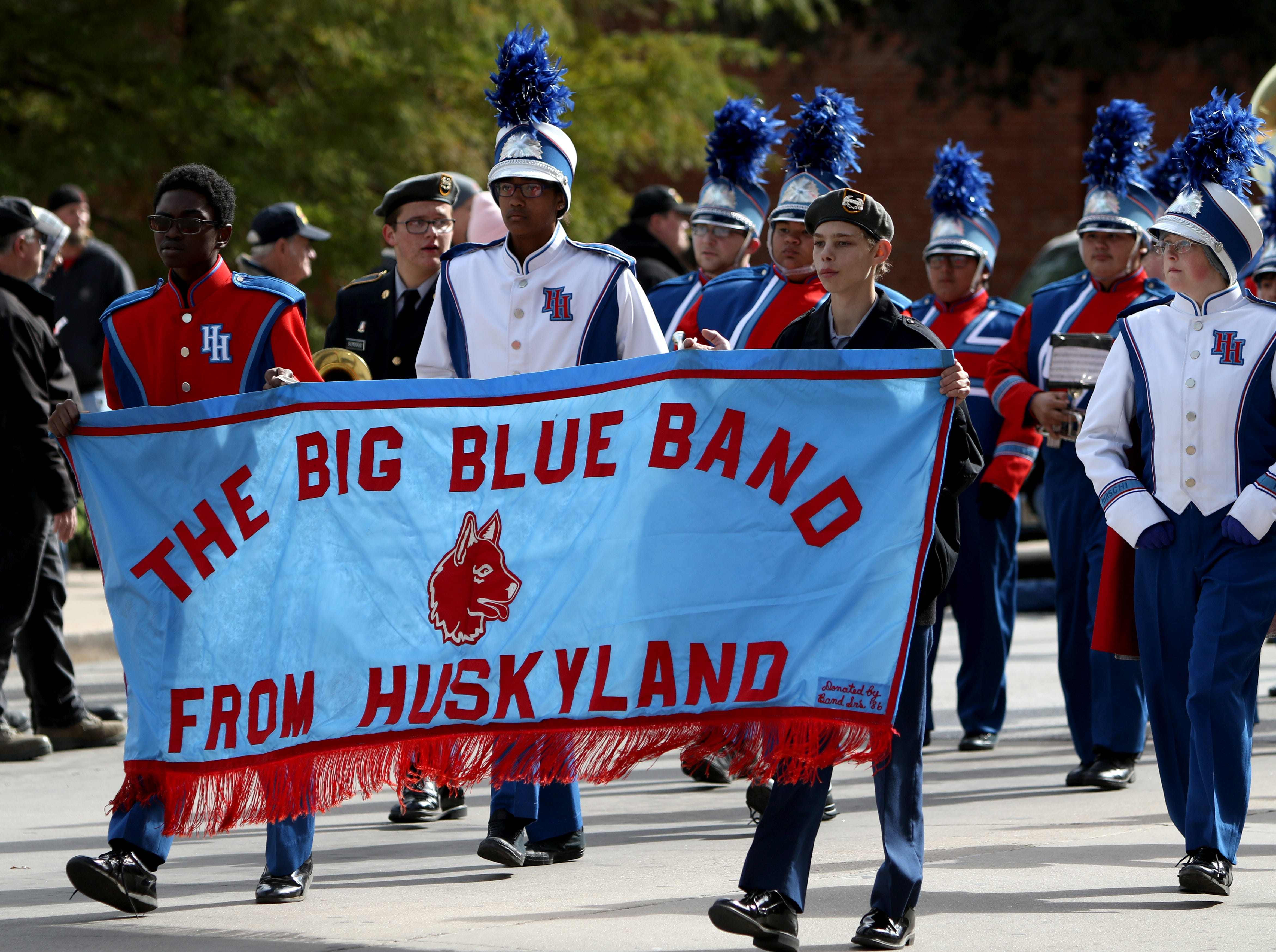 The Hirschi High School marching band takes part in the Veterans Day parade Saturday, Nov. 10, 2018, in downtown Wichita Falls on the 100th anniversary of the Armistice of Compiègne that ended fighting in World War I.