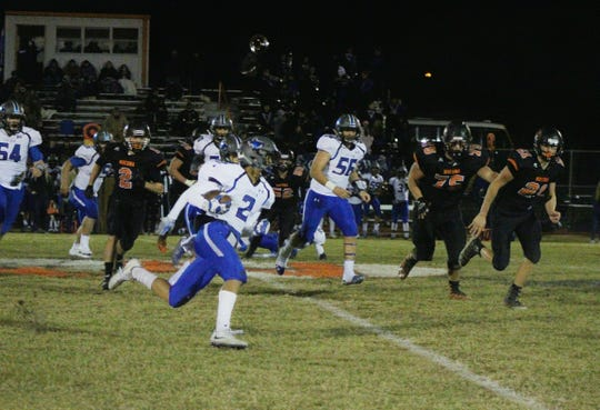 City View's Javen Jones rushes the ball against Nocona Friday Night.