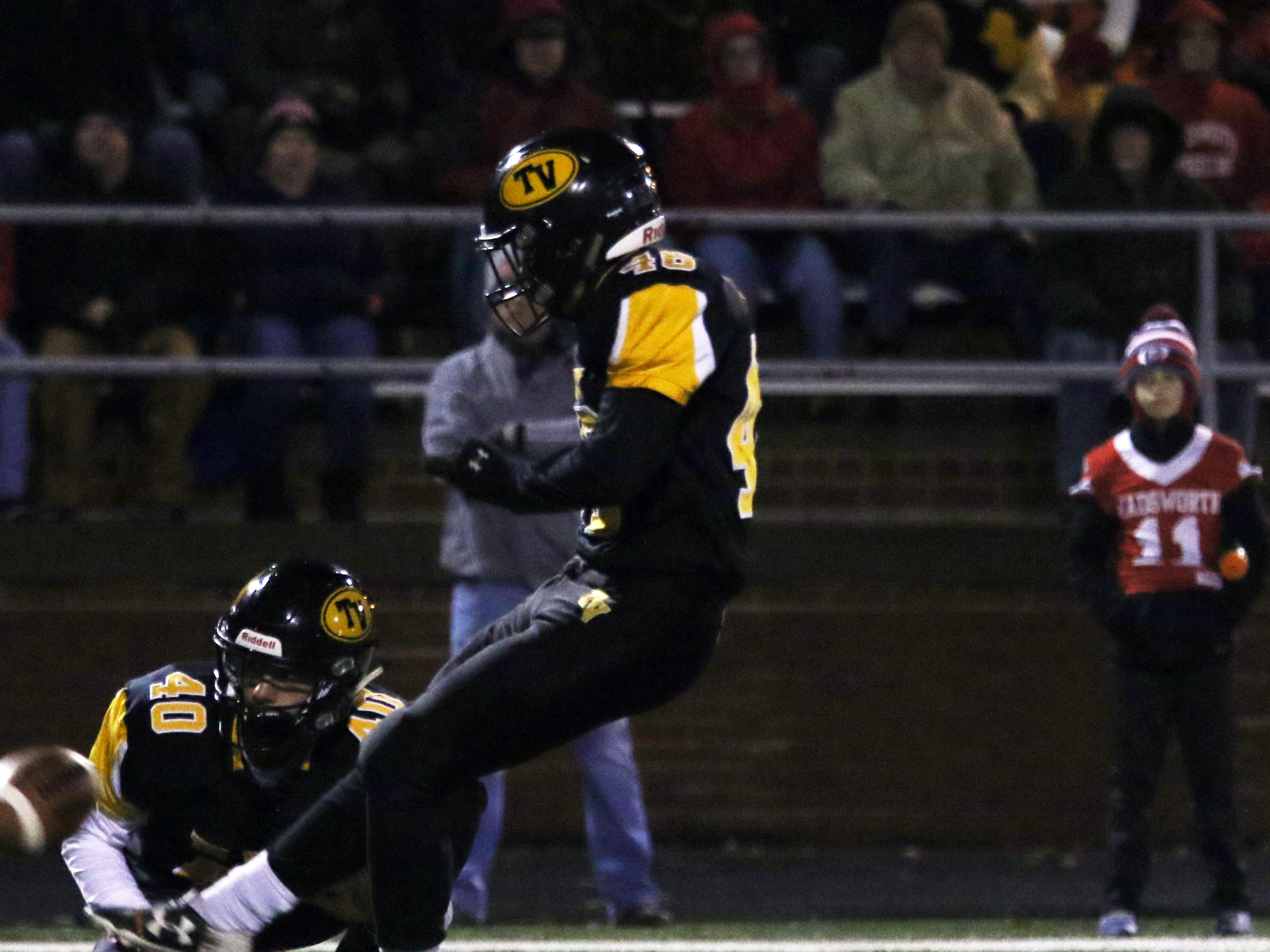 Tri-Valley's Trey Cannon kicks a field goal against Wadsworth.