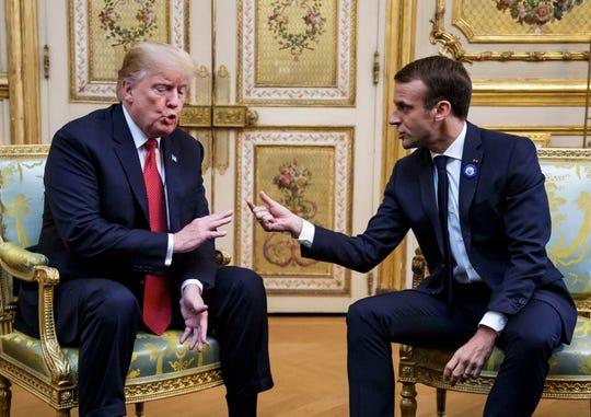 Le président français Emmanuel Macron et le président Donald Trump se rencontrent à l'Elysée en prévision de la cérémonie internationale du centenaire de l'armistice de la Première Guerre mondiale du 11 novembre 1918. Trump ainsi que d'autres chefs d'État et de gouvernement participeront aux cérémonies de commémoration de leurs pays. 'soldats de la 1ère guerre mondiale tombés en France.