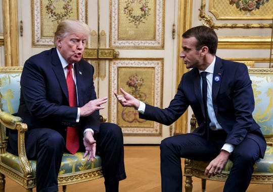 French President Emmanuel Macron and President Donald Trump meet at the Elysee Palace ahead of the international ceremony for the Centenary of the WWI Armistice of Nov. 11, 1918. Trump along with other Heads of States and Governments will join in the commemoration ceremonies for their countries' fallen WW1 soldiers in France.