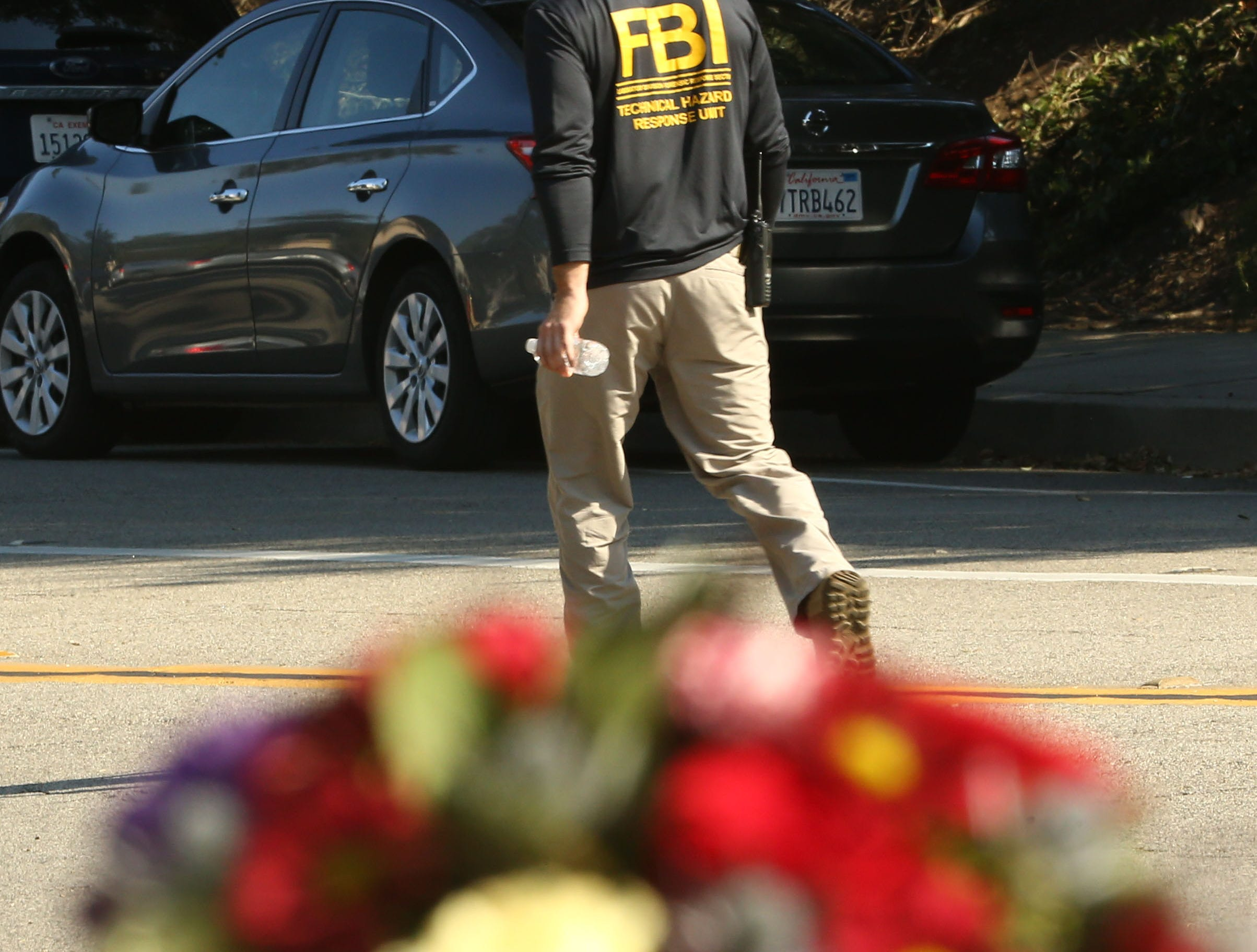 The FBI and local law enforcement continue their investigation at the Borderline Bar and Grill on Saturday, Nov. 10, 2018, in Thousand Oaks, Calif. Twelve people were shot and killed Wednesday by gunman Ian David Long who opened fire at the Borderline Bar and Grill.