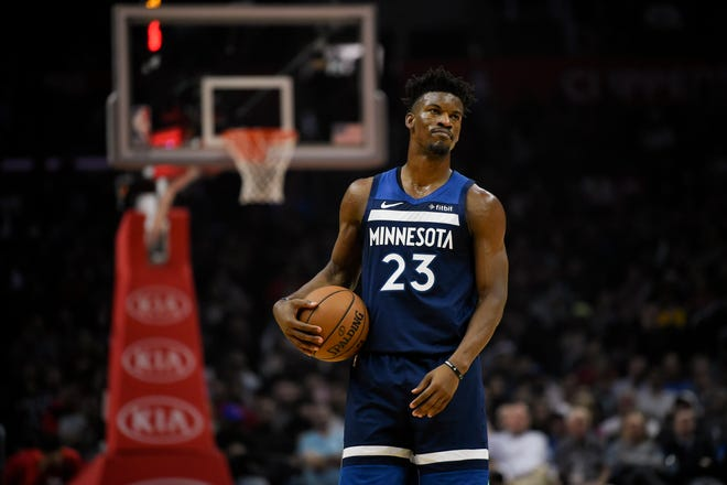Jimmy Butler looks on during a game against the Los Angeles Clippers.