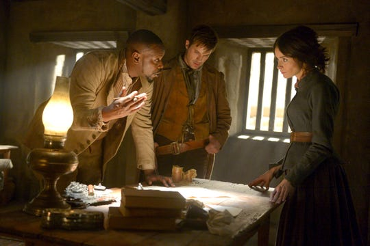 Rufus (Malcolm Barrett), left, Wyatt (Matt Lanter) and Lucy (Abigail Spencer) find themselves at The Alamo in a favorite 'Timeless' episode of both Lanter and co-star Goran Visnjic.