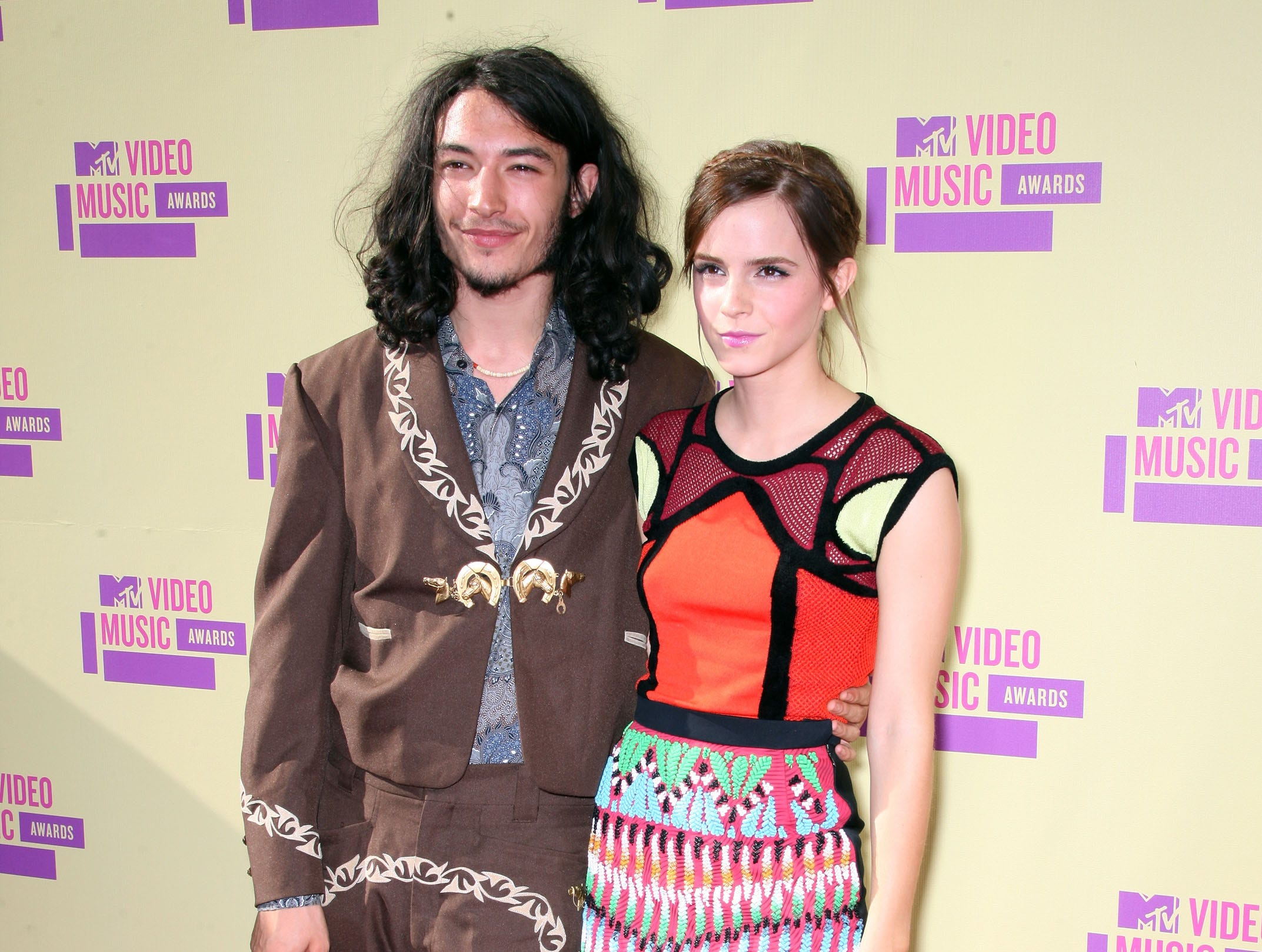 LOS ANGELES, CA - SEPTEMBER 06:  Actors Ezra Miller (L) and Emma Watson arrive at the 2012 MTV Video Music Awards at Staples Center on September 6, 2012 in Los Angeles, California.  (Photo by Frederick M. Brown/Getty Images) ORG XMIT: 149866652 ORIG FILE ID: 151382635
