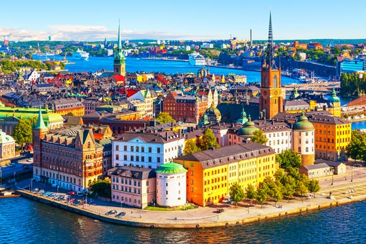 Aerial Panorama Of Stockholm Sweden