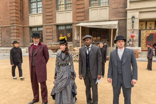 Flynn (Goran Visnjic), foreground left, Lucy (Abigail Spencer), Rufus (Malcolm Barrett) and Wyatt (Matt Lanter), seen in the 'Timeless' Season 2 finale in May, will get to take the Lifeboat out for one last spin in the Dec. 20 series finale.