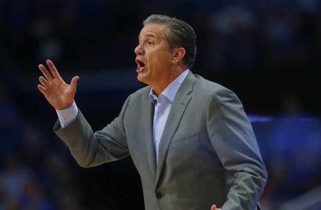 Kentucky Wildcats head coach John Calipari coaches his team against the Southern Illinois Salukis in the second half at Rupp Arena.