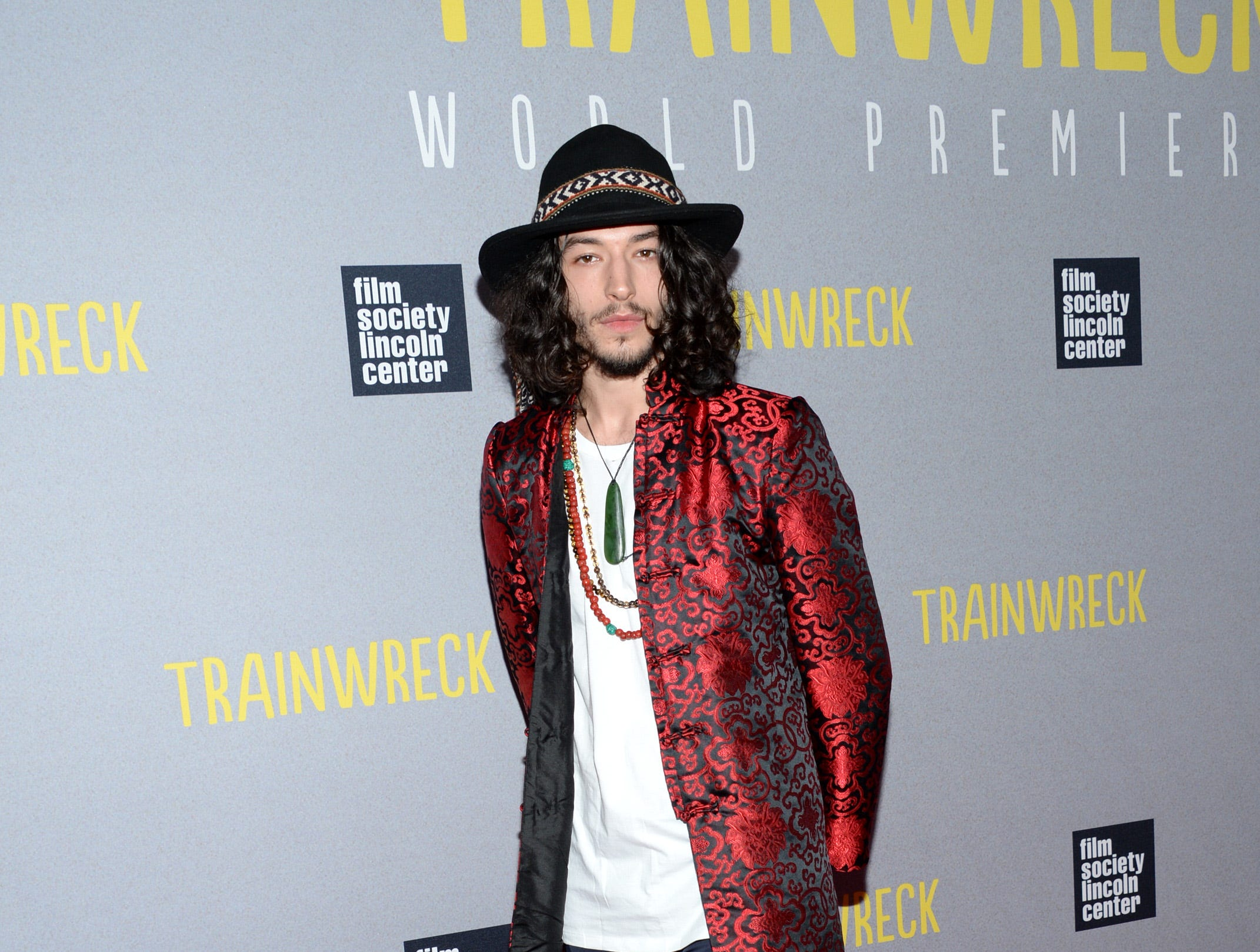 """Actor Ezra Miller attends the world premiere of """"Trainwreck"""" at Alice Tully Hall on Tuesday, July 14, 2015, in New York. (Photo by Evan Agostini/Invision/AP) ORG XMIT: NYEA110"""