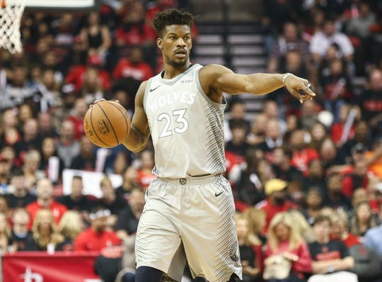 Jimmy Butler in Game 1 of the first round of the 2018 NBA playoffs.