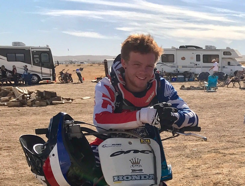 Blake Dingman, 21, in the desert during  Thanksgiving 2017, his favorite place. Dingman was one of 12 victims killed at the Borderline Bar & Grill in Thousand Oaks, Calif. on Nov. 7, 2018.