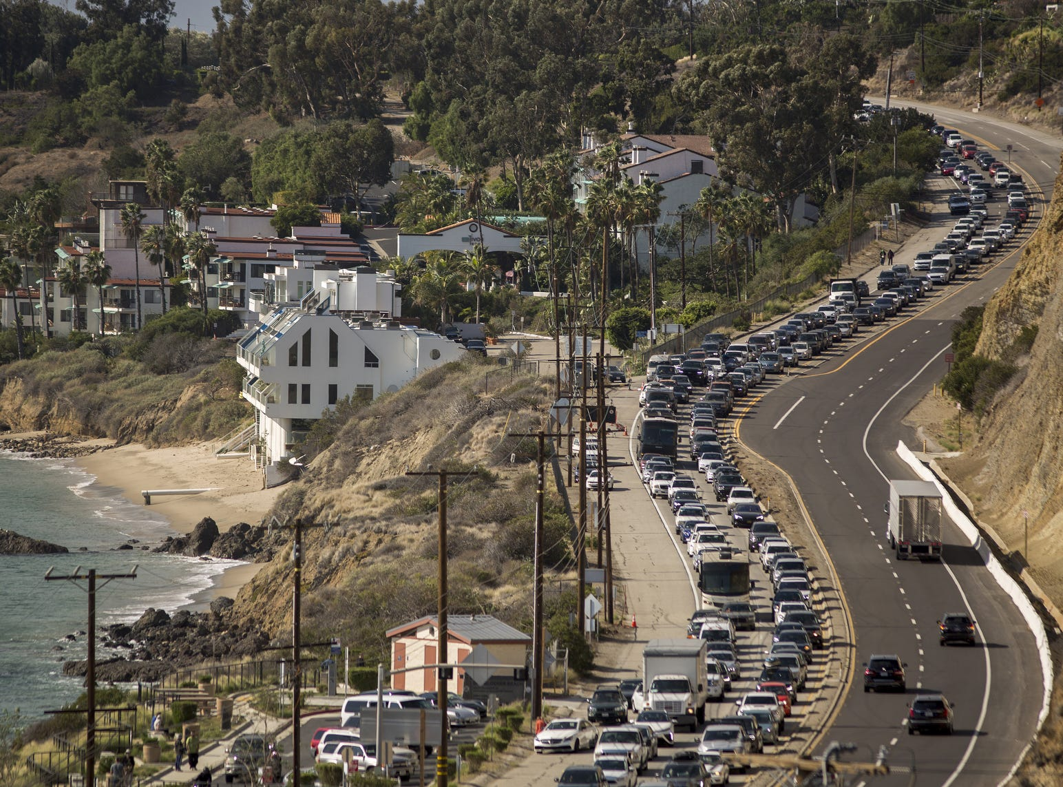 Traffic jams the southbound lanes of Pacific Coast Highway as all of the city of Malibu is evacuated to flee advancing flames during the Woolsey Fire on Nov. 9, 2018 in Malibu, Calif. About 75,000 homes have been evacuated in Los Angeles and Ventura counties due to two fires in the region.