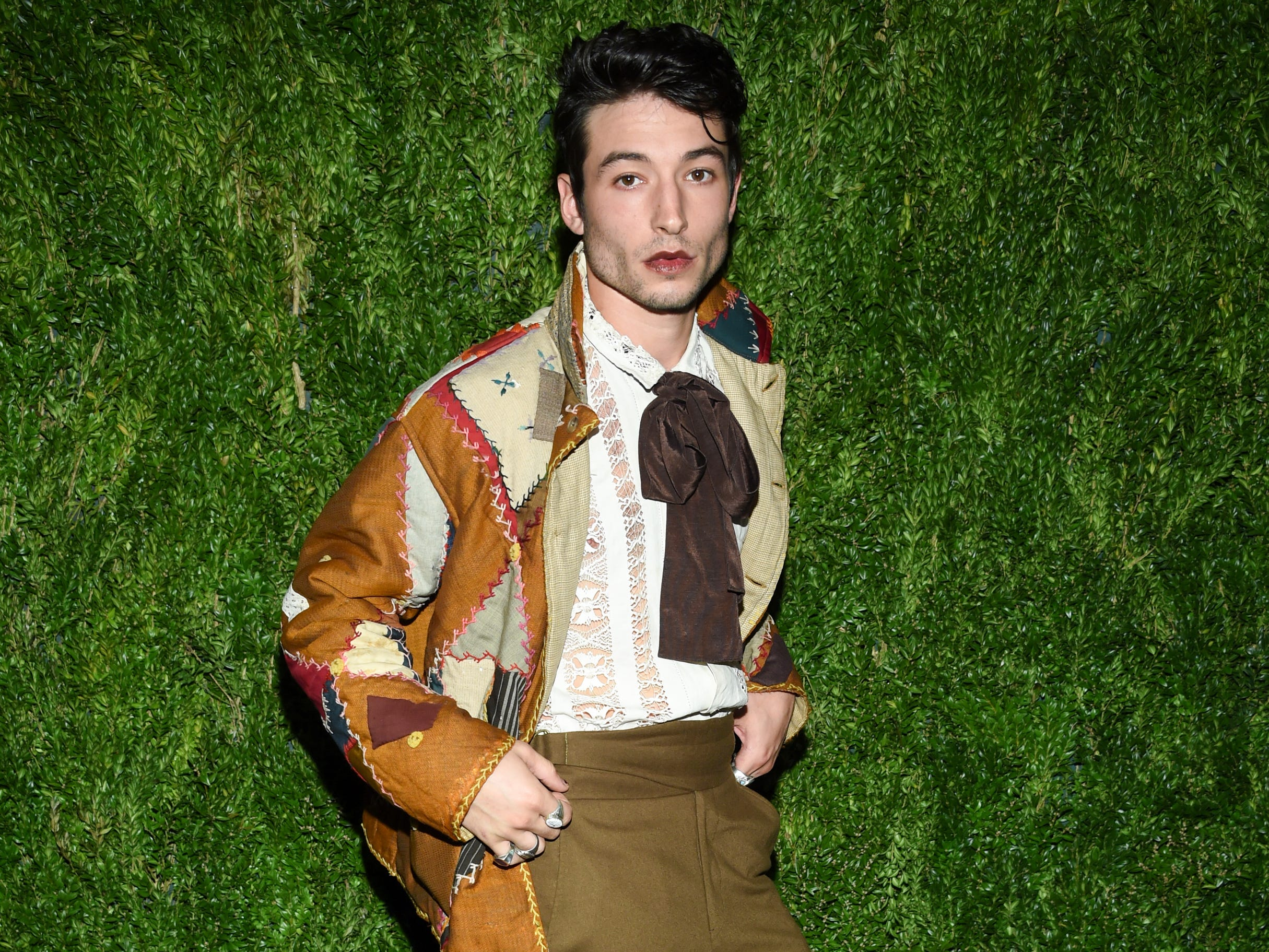 Actor Ezra Miller attends the 15th annual CFDA / Vogue Fashion Fund event at the Brooklyn Navy Yard on Monday, Nov. 5, 2018, in New York. (Photo by Evan Agostini/Invision/AP) ORG XMIT: NYEA119