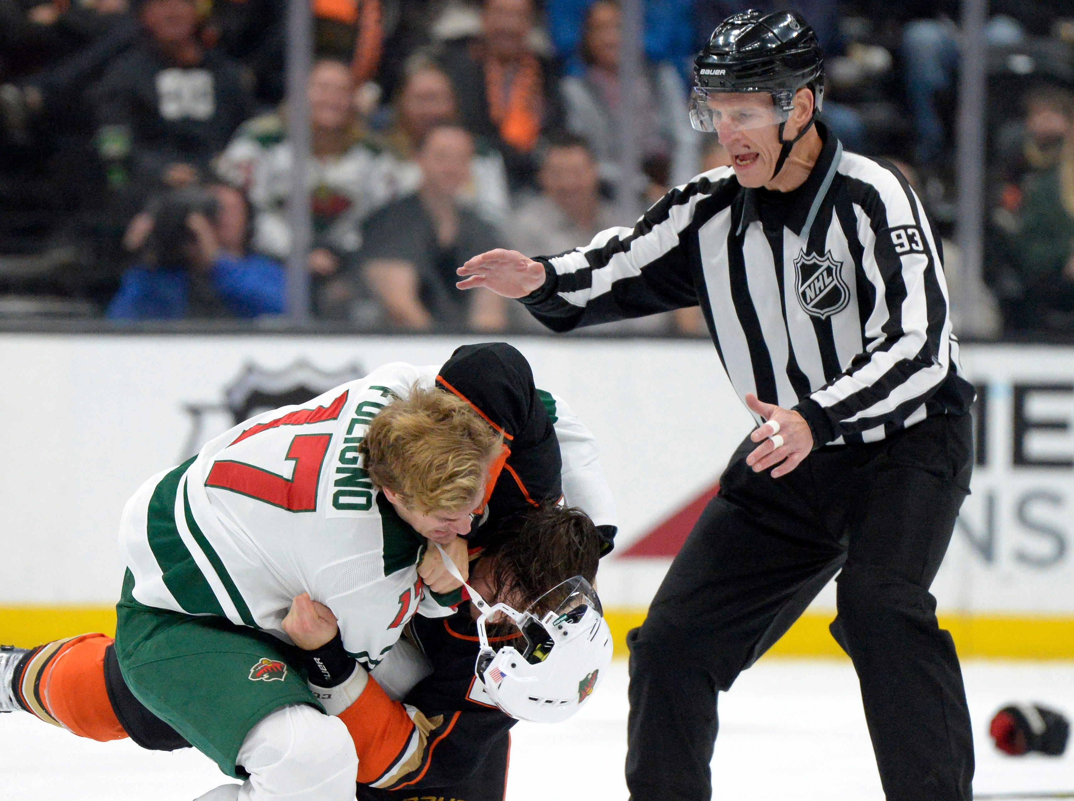 Nov. 9: Minnesota Wild's Marcus Foligno vs. Anaheim Ducks' Luke Schenn.