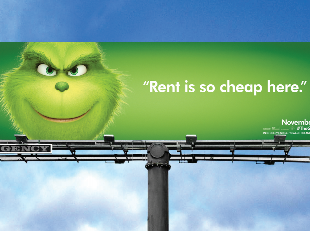 The Grinch mocks San Francisco for the skyrocketing rent.