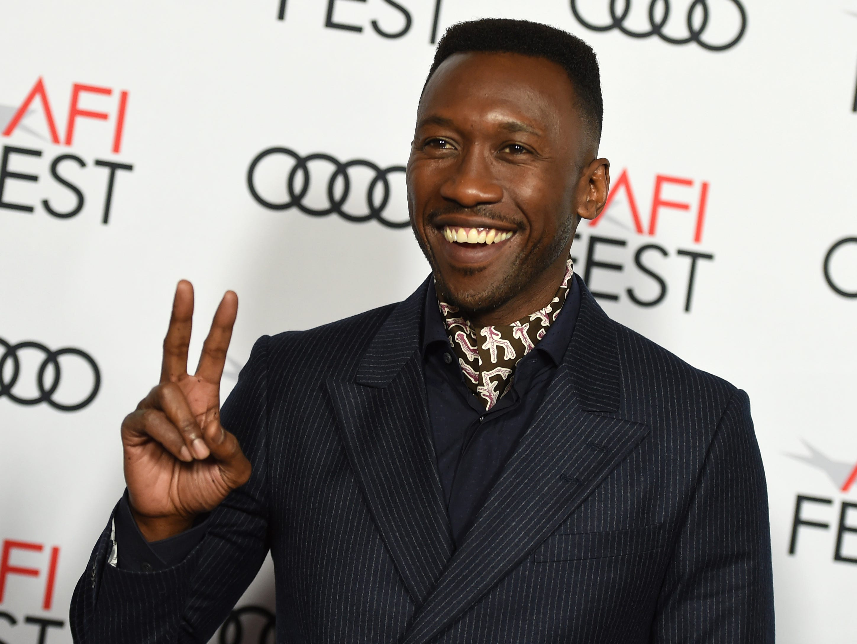 "Mahershala Ali, a cast member in ""Green Book"", poses at the premiere of the film at the 2018 AFI Fest on Nov. 8, 2018 in Los Angeles."