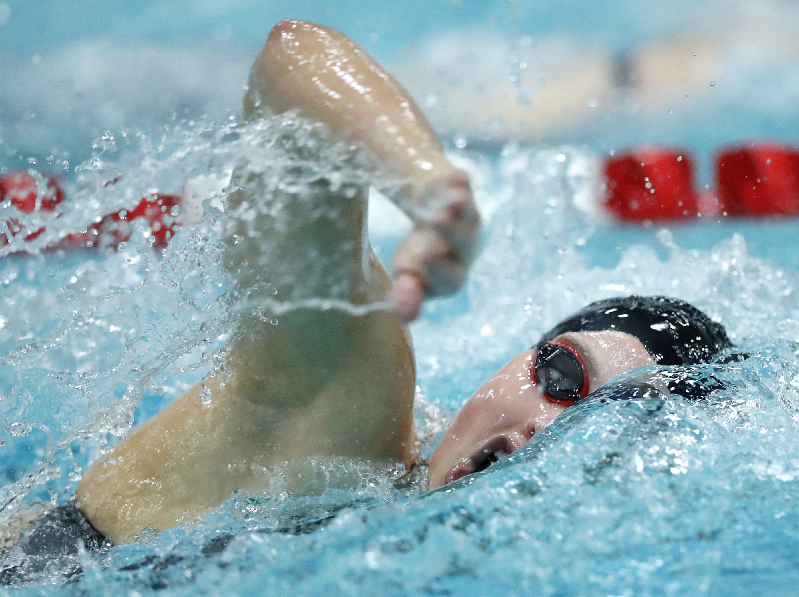 NeenahÕs Claire Eisele races in the 200 yard freestyle during the WIAA Division 1 State Swimming and Diving meet Saturday, Nov. 10, 2018, at the UW Natatorium in Madison, Wis. Danny Damiani/USA TODAY NETWORK-Wisconsin
