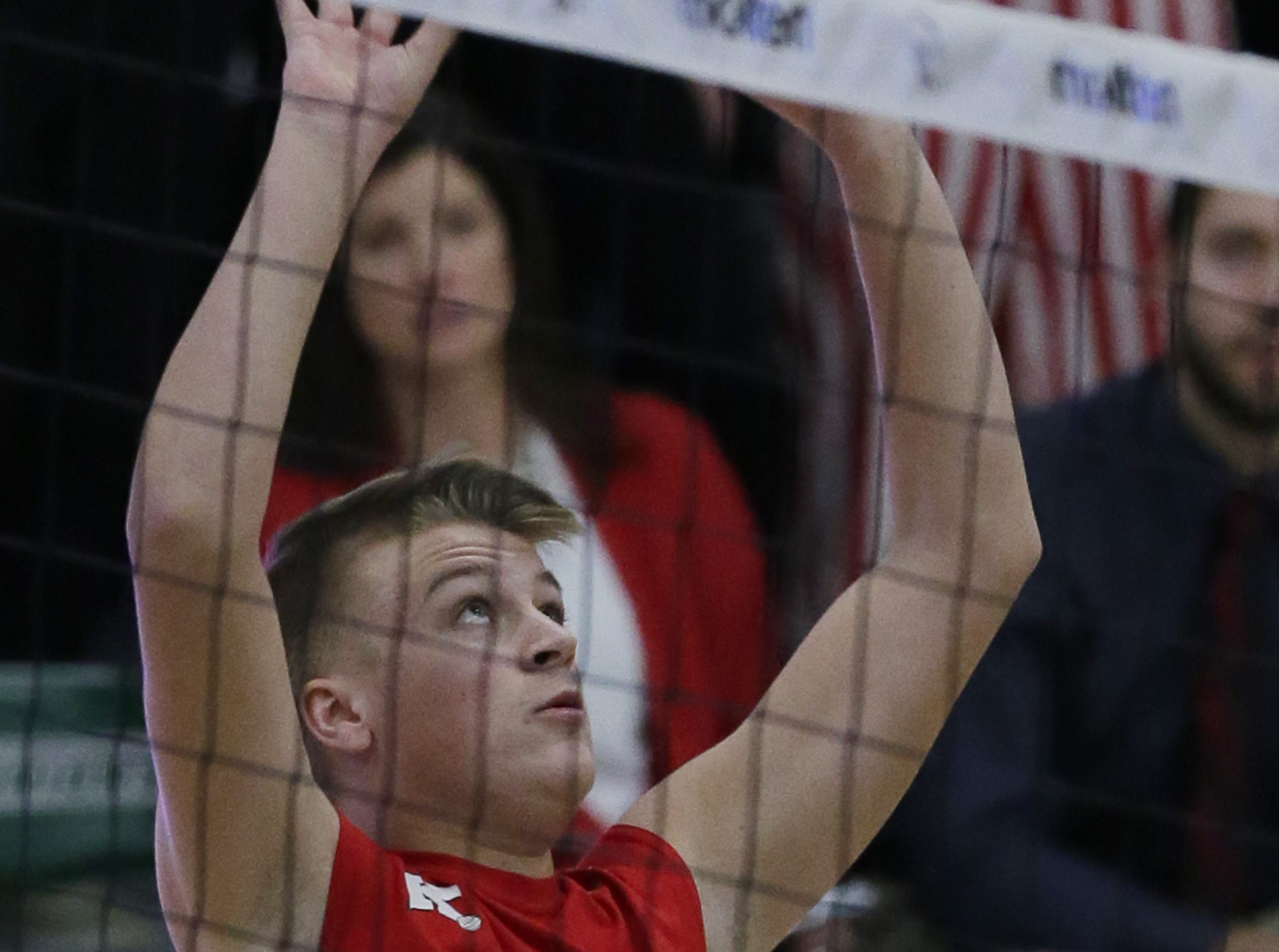 Kimberly's Tommy Clausz sets the ball during their game.  Kimberly Papermakers played Germantown Warhawks in Division 1 WIAA State Boys Volleyball Championship, Saturday, November 10, 2018 at Wisconsin Lutheran College in Milwaukee, Wis. Joe Sienkiewicz/USA Today NETWORK-Wisconsin
