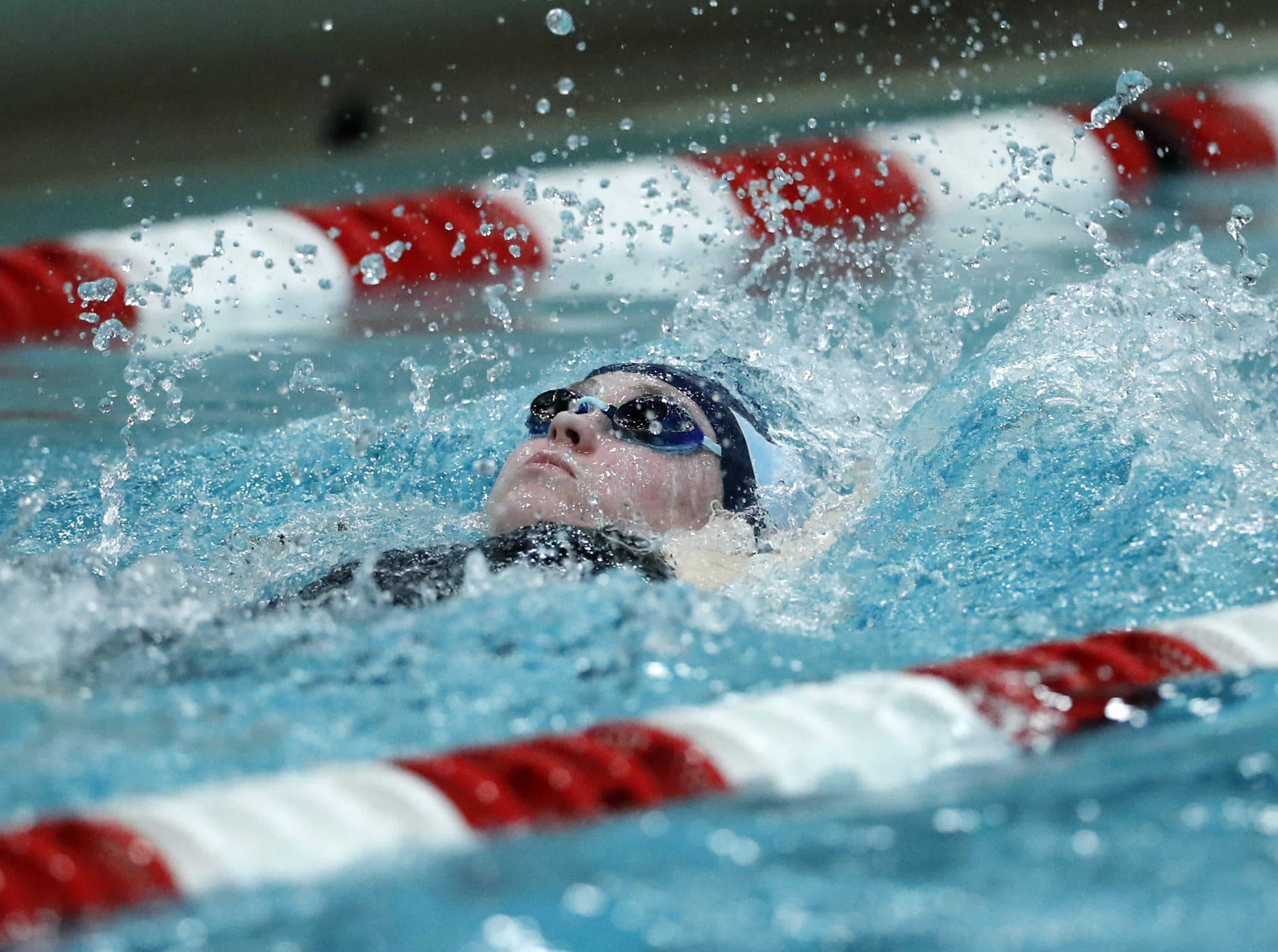 Bay PortÕs Riley Melendy races in the 200 yard individual medley during the WIAA Division 1 State Swimming and Diving meet Saturday, Nov. 10, 2018, at the UW Natatorium in Madison, Wis. Danny Damiani/USA TODAY NETWORK-Wisconsin