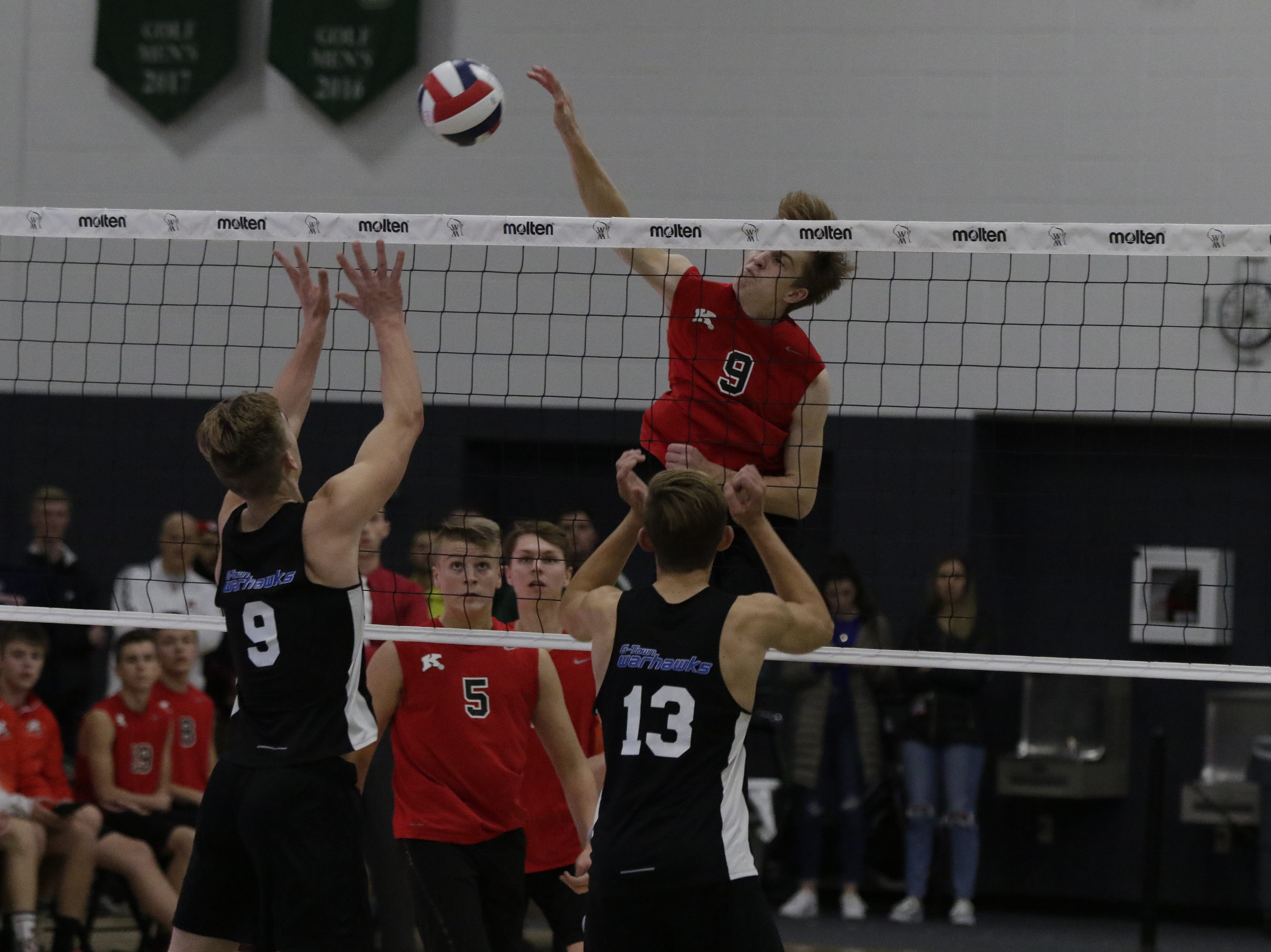KimberlyÕs Tommy Clausz spikes against Germantown.  Kimberly Papermakers played Germantown Warhawks in Division 1 WIAA State Boys Volleyball Championship, Saturday, November 10, 2018 at Wisconsin Lutheran College in Milwaukee, Wis. Joe Sienkiewicz/USA Today NETWORK-Wisconsin