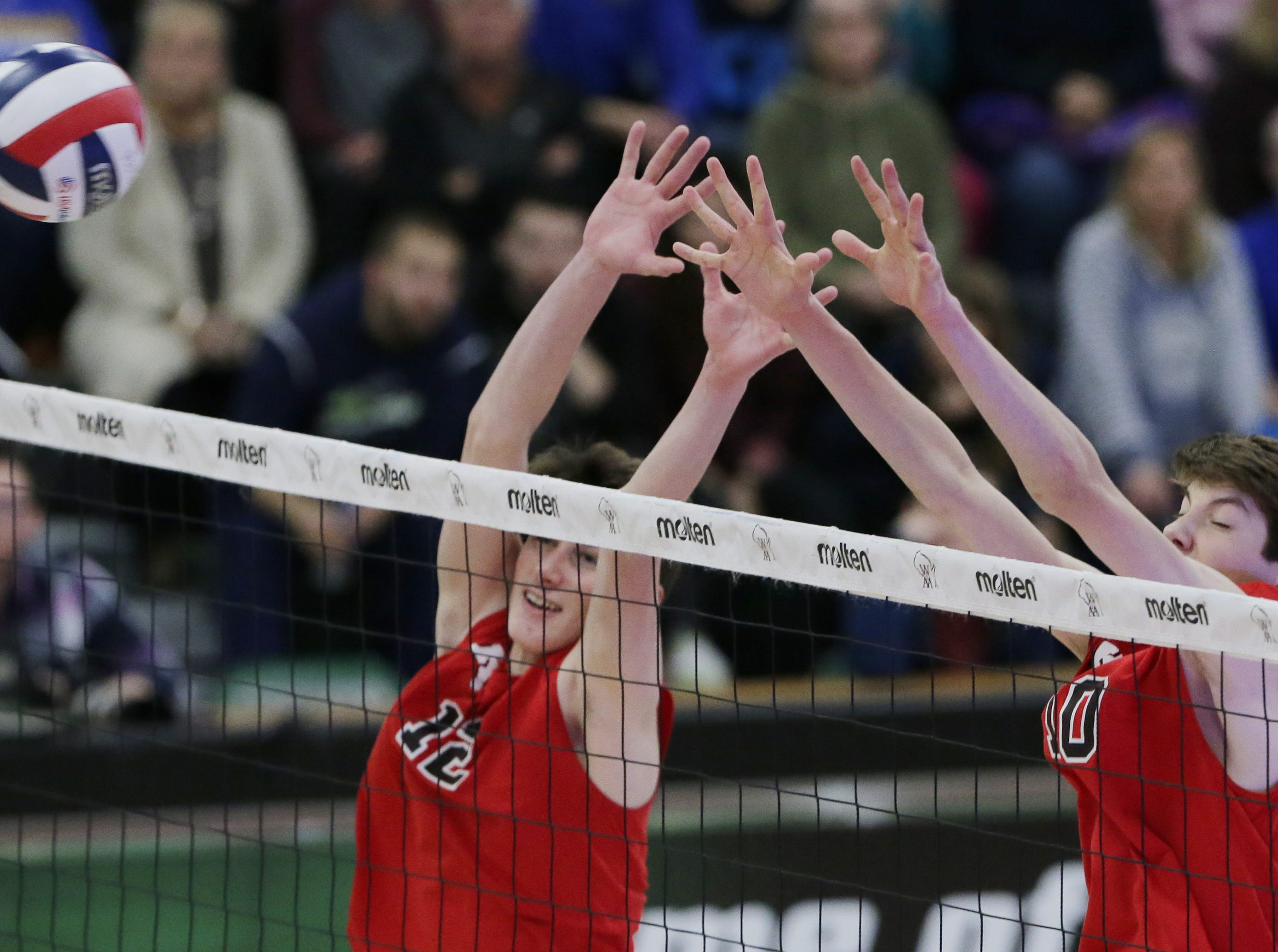 Kimberly's Parker Hietpas and Landon Krause get ready to block a shot.  Kimberly Papermakers played Germantown Warhawks in Division 1 WIAA State Boys Volleyball Championship, Saturday, November 10, 2018 at Wisconsin Lutheran College in Milwaukee, Wis. Joe Sienkiewicz/USA Today NETWORK-Wisconsin