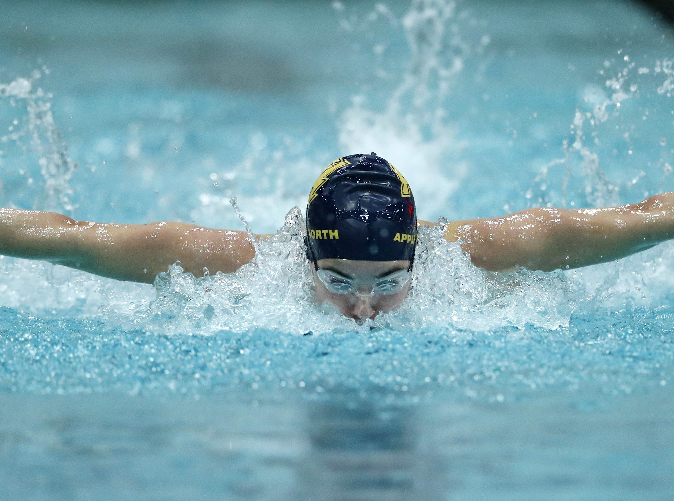 Appleton NorthÕs Mollie Brackett races in the 100 yard butterfly during the WIAA Division 1 State Swimming and Diving meet Saturday, Nov. 10, 2018, at the UW Natatorium in Madison, Wis. Danny Damiani/USA TODAY NETWORK-Wisconsin