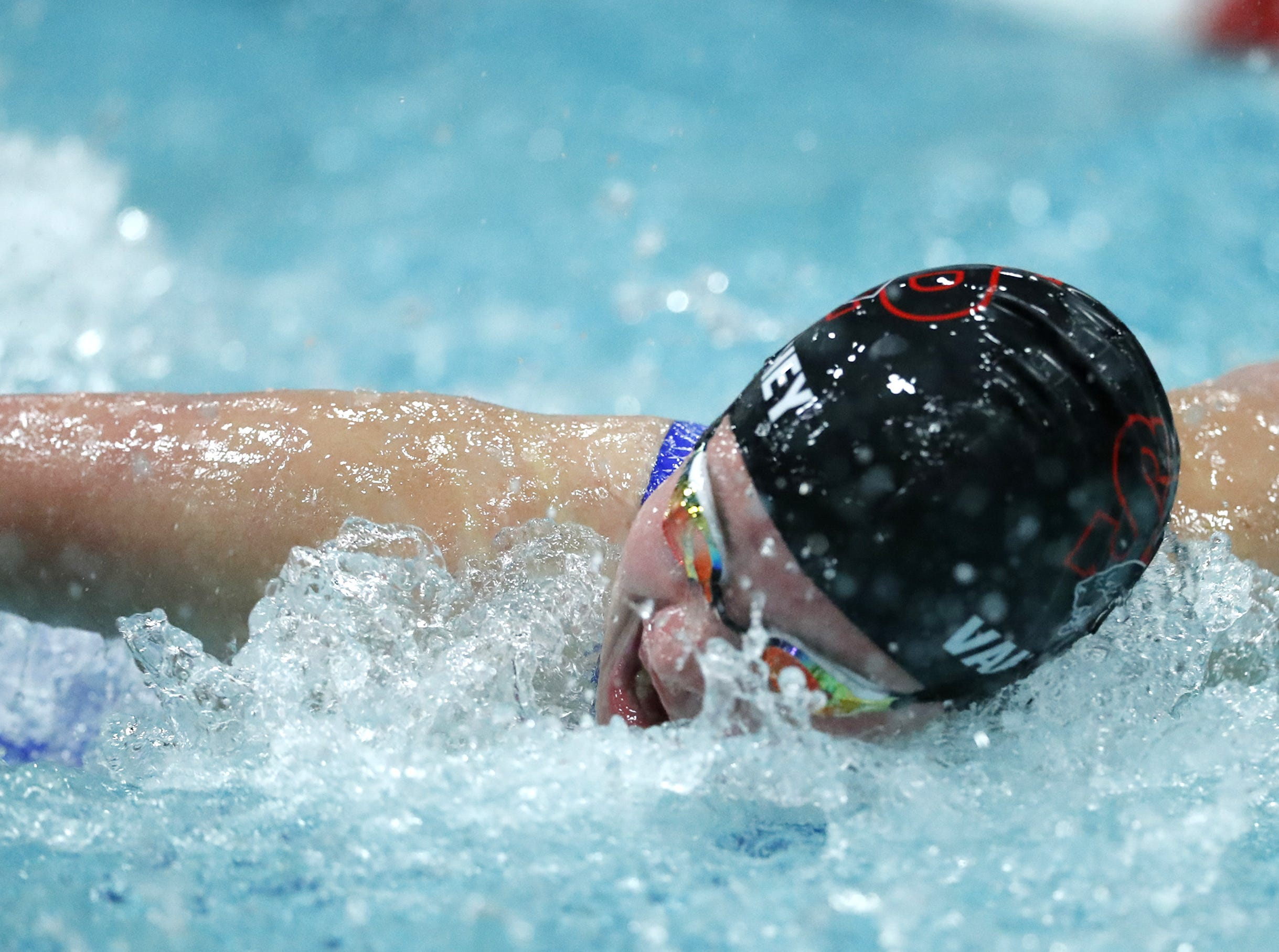 Stevens PointÕs Anna Vandehey races in the 100 yard butterfly during the WIAA Division 1 State Swimming and Diving meet Saturday, Nov. 10, 2018, at the UW Natatorium in Madison, Wis. Danny Damiani/USA TODAY NETWORK-Wisconsin
