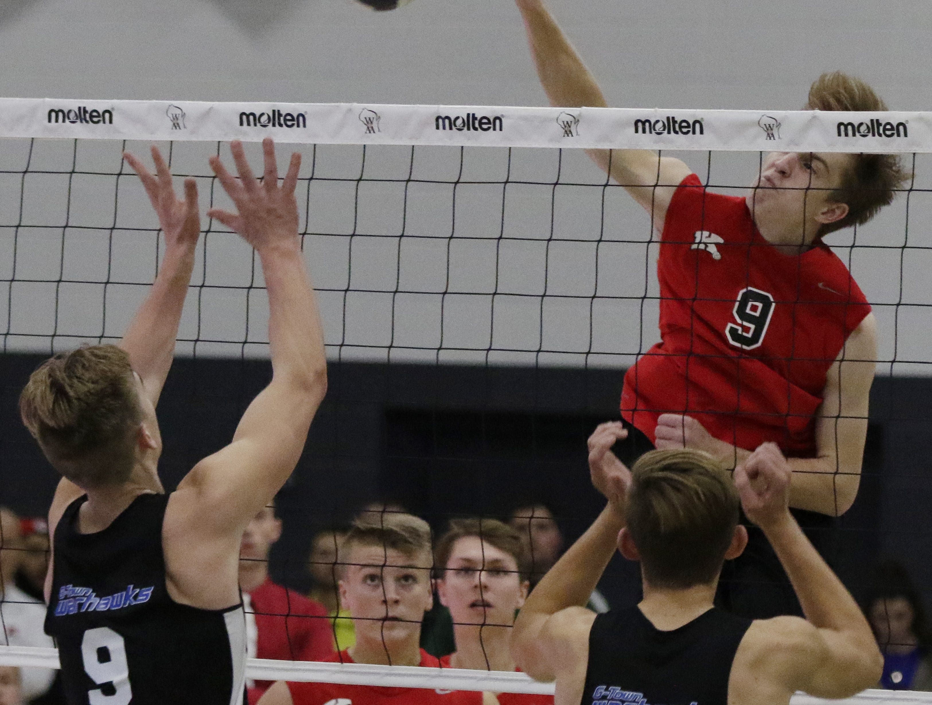 Kimberly's Tommy Clausz spikes against Germantown.  Kimberly Papermakers played Germantown Warhawks in Division 1 WIAA State Boys Volleyball Championship, Saturday, November 10, 2018 at Wisconsin Lutheran College in Milwaukee, Wis. Joe Sienkiewicz/USA Today NETWORK-Wisconsin