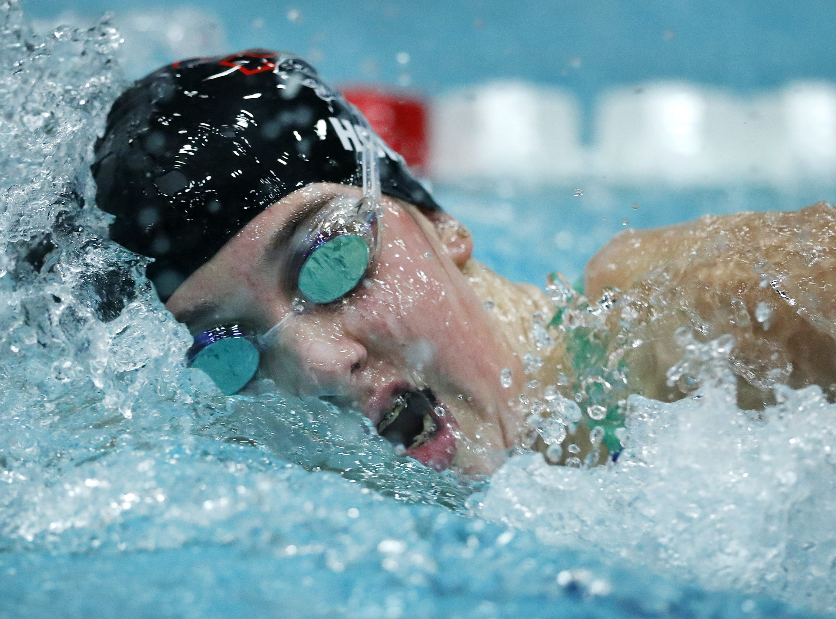 Stevens PointÕs Sydney Hoff races in the 200 yard freestyle during the WIAA Division 1 State Swimming and Diving meet Saturday, Nov. 10, 2018, at the UW Natatorium in Madison, Wis. Danny Damiani/USA TODAY NETWORK-Wisconsin