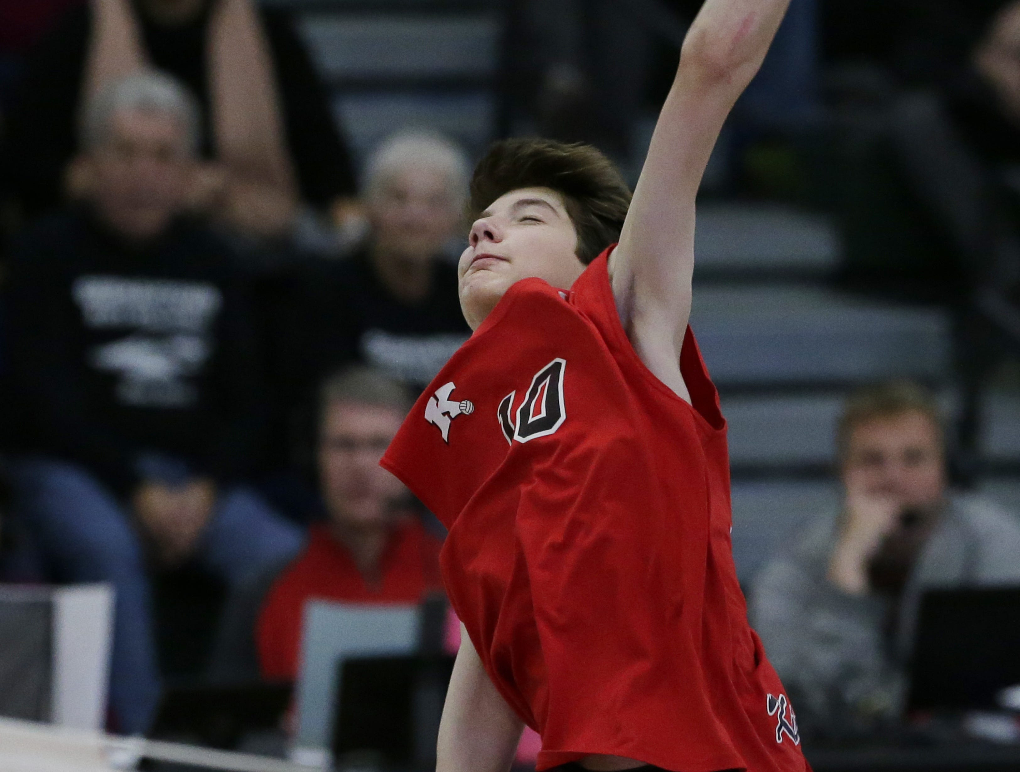 Kimberly's Landon Krause goes up for a spike during their game.  Kimberly Papermakers played Germantown Warhawks in Division 1 WIAA State Boys Volleyball Championship, Saturday, November 10, 2018 at Wisconsin Lutheran College in Milwaukee, Wis. Joe Sienkiewicz/USA Today NETWORK-Wisconsin