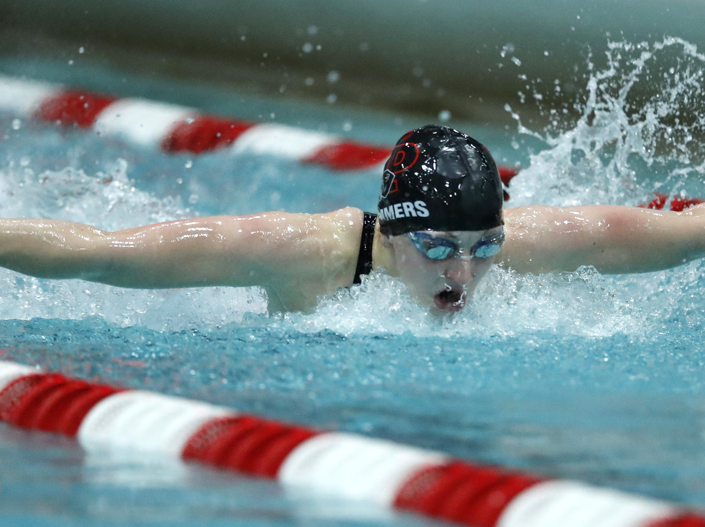 Stevens PointÕs Casey Summers races in the 100 yard butterfly during the WIAA Division 1 State Swimming and Diving meet Saturday, Nov. 10, 2018, at the UW Natatorium in Madison, Wis. Danny Damiani/USA TODAY NETWORK-Wisconsin