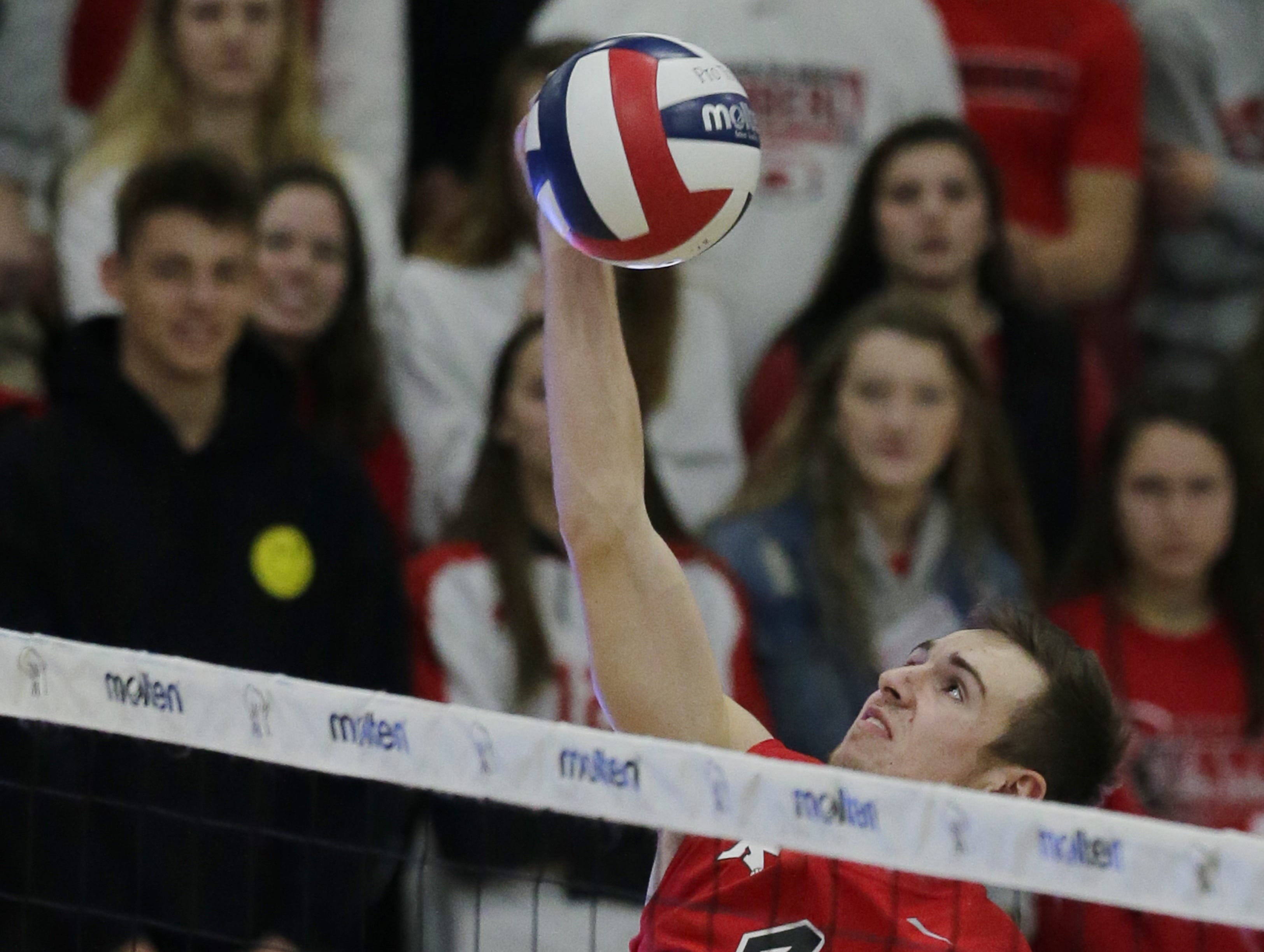 Kimberly's Trey Anderson goes up for a spike against Germantown.  Kimberly Papermakers played Germantown Warhawks in Division 1 WIAA State Boys Volleyball Championship, Saturday, November 10, 2018 at Wisconsin Lutheran College in Milwaukee, Wis. Joe Sienkiewicz/USA Today NETWORK-Wisconsin