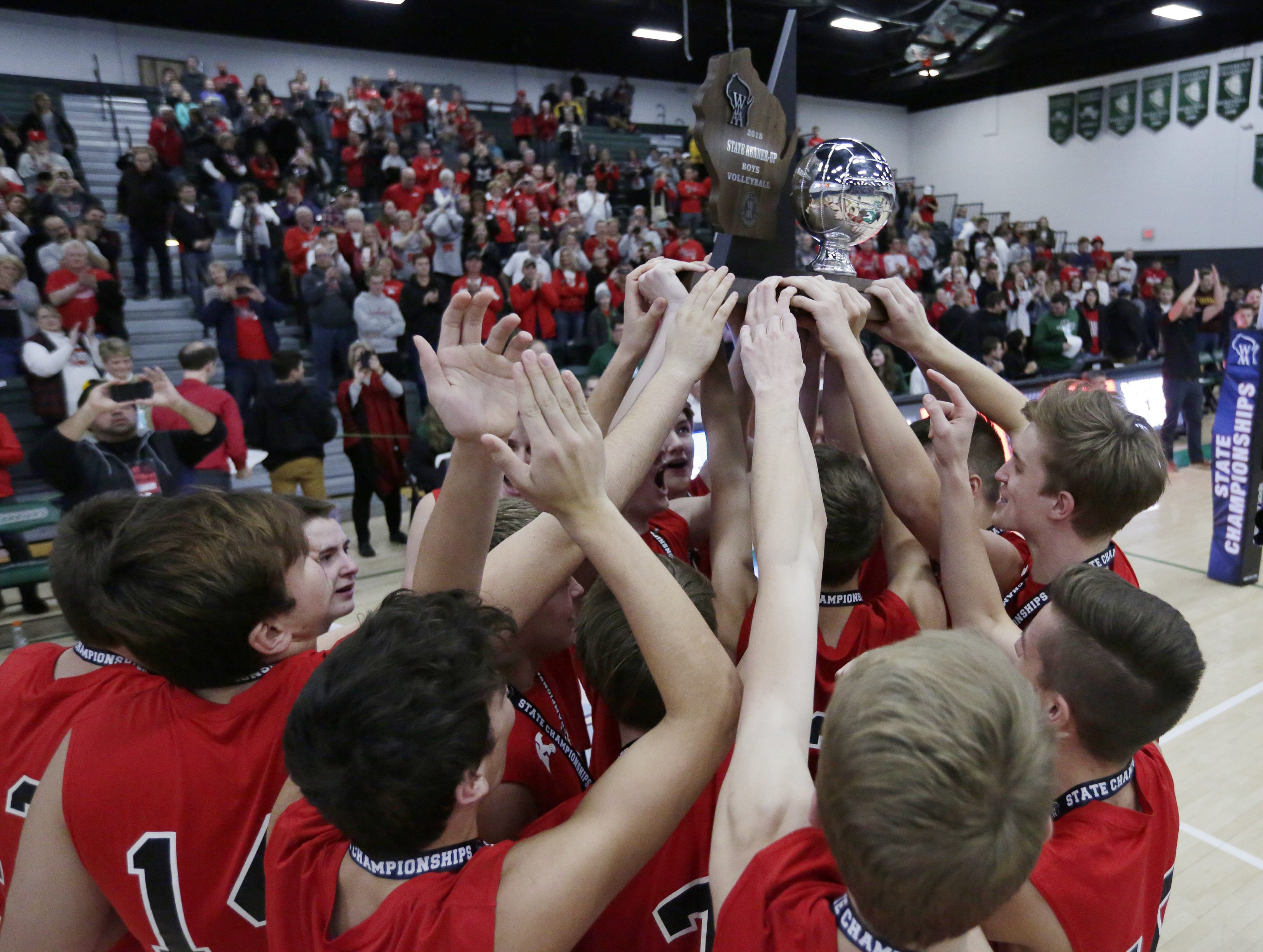 Kimberly lost to Germantown in the championship match three games to one.  Kimberly Papermakers played Germantown Warhawks in Division 1 WIAA State Boys Volleyball Championship, Saturday, November 10, 2018 at Wisconsin Lutheran College in Milwaukee, Wis.   Joe Sienkiewicz/USA Today NETWORK-Wisconsin