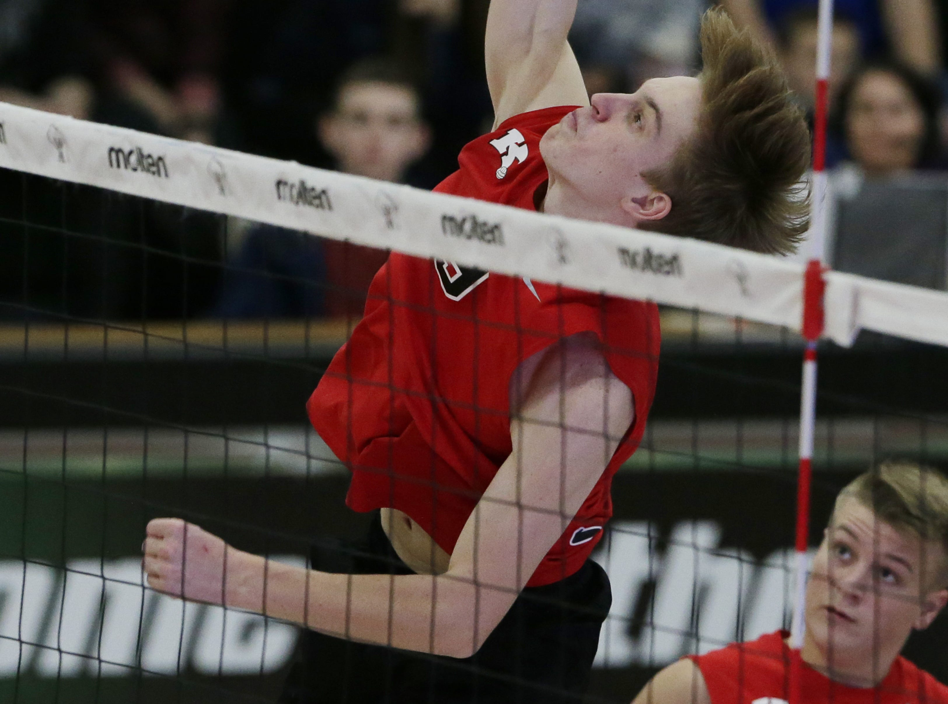 Kimberly's Tommy Clausz spikes the ball during their game.  Kimberly Papermakers played Germantown Warhawks in Division 1 WIAA State Boys Volleyball Championship, Saturday, November 10, 2018 at Wisconsin Lutheran College in Milwaukee, Wis. Joe Sienkiewicz/USA Today NETWORK-Wisconsin