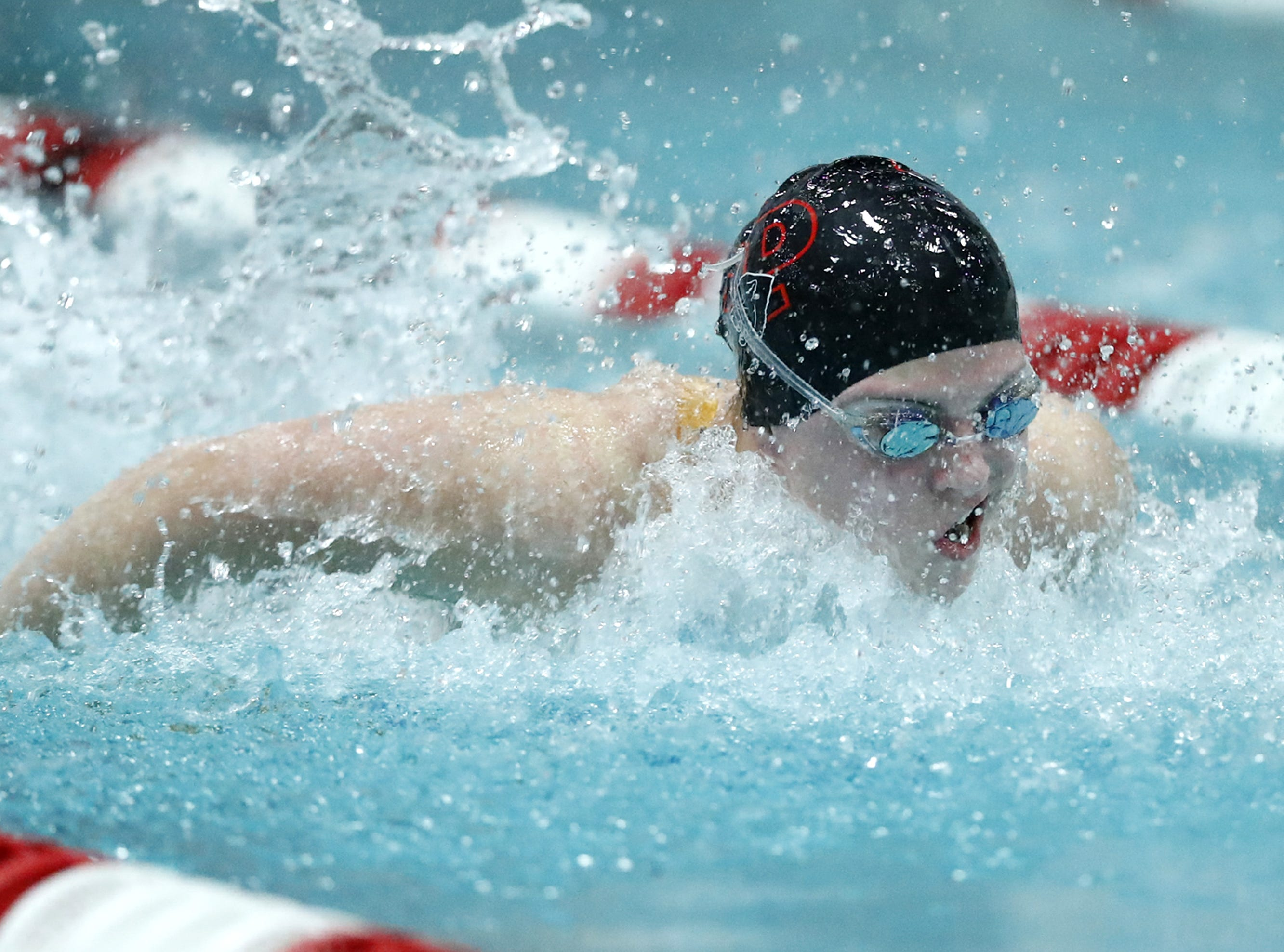 Stevens PointÕs Alaina Breitbach races in the 200 yard individual medley during the WIAA Division 1 State Swimming and Diving meet Saturday, Nov. 10, 2018, at the UW Natatorium in Madison, Wis. Danny Damiani/USA TODAY NETWORK-Wisconsin