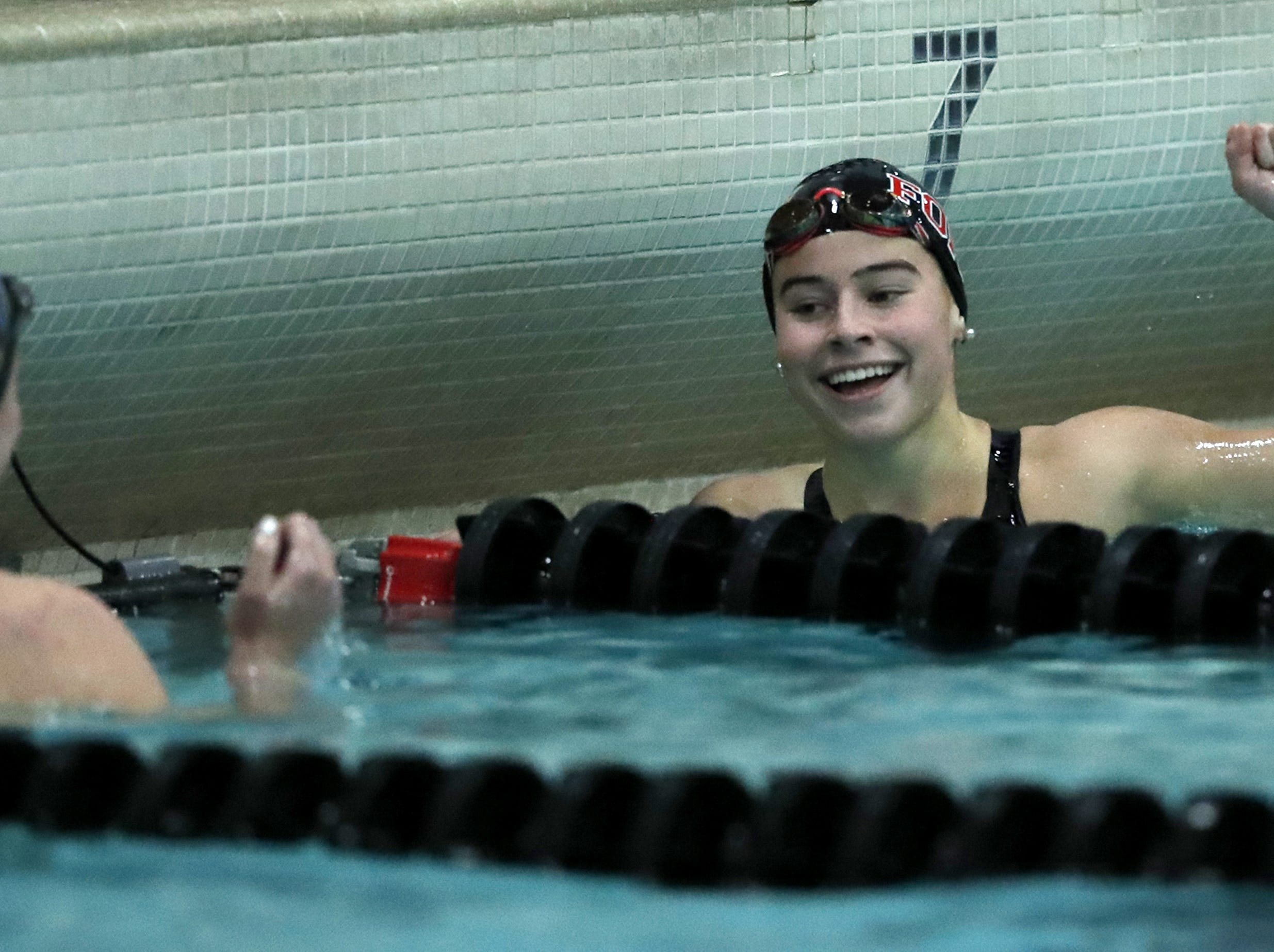 Fond du LacÕs Isabella Jones reacts after finishing the 200 yard freestyle during the WIAA Division 1 State Swimming and Diving meet Saturday, Nov. 10, 2018, at the UW Natatorium in Madison, Wis. Danny Damiani/USA TODAY NETWORK-Wisconsin