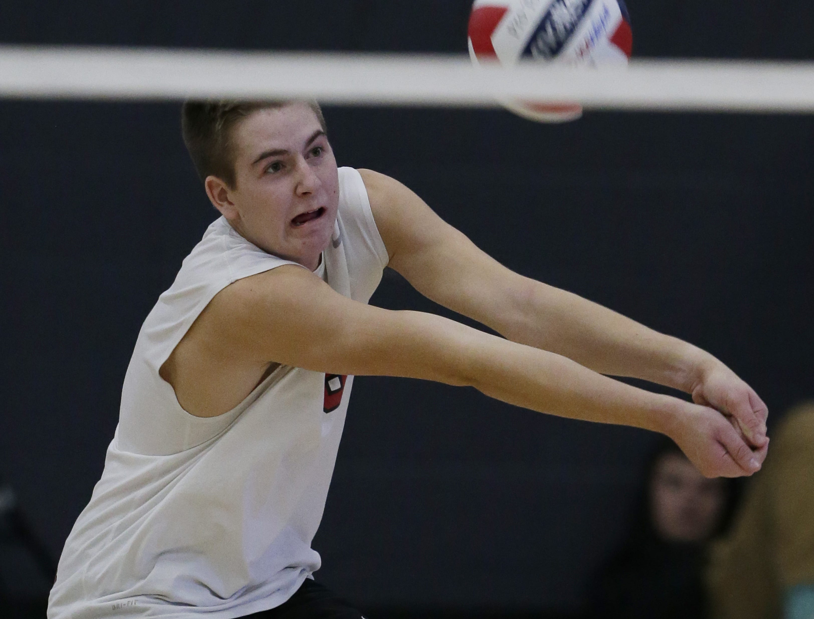 Kimberly's Eli Ruplinger bumps up the ball during their game.  Kimberly Papermakers played Germantown Warhawks in Division 1 WIAA State Boys Volleyball Championship, Saturday, November 10, 2018 at Wisconsin Lutheran College in Milwaukee, Wis. Joe Sienkiewicz/USA Today NETWORK-Wisconsin