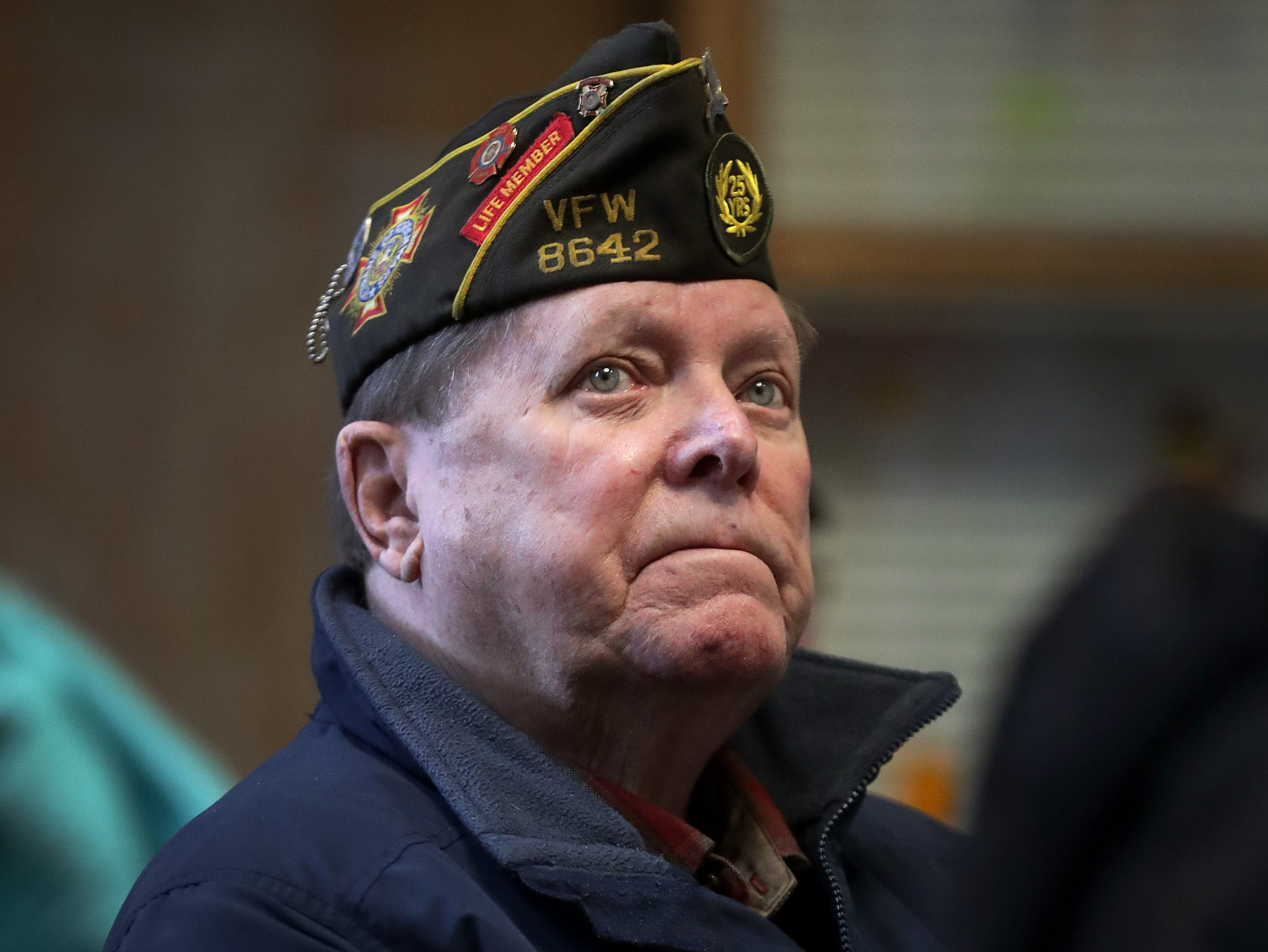 Richard Kerrigan, U.S. Navy Korea, during the Outagamie County Veterans Day Service on Sunday, Nov. 11, 2018, in Appleton, Wis. The service, in part, commemorated the 100th anniversary of the end of WW I.
