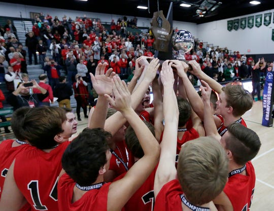 The Kimberly boys volleyball team finished second in the WIAA state championships.