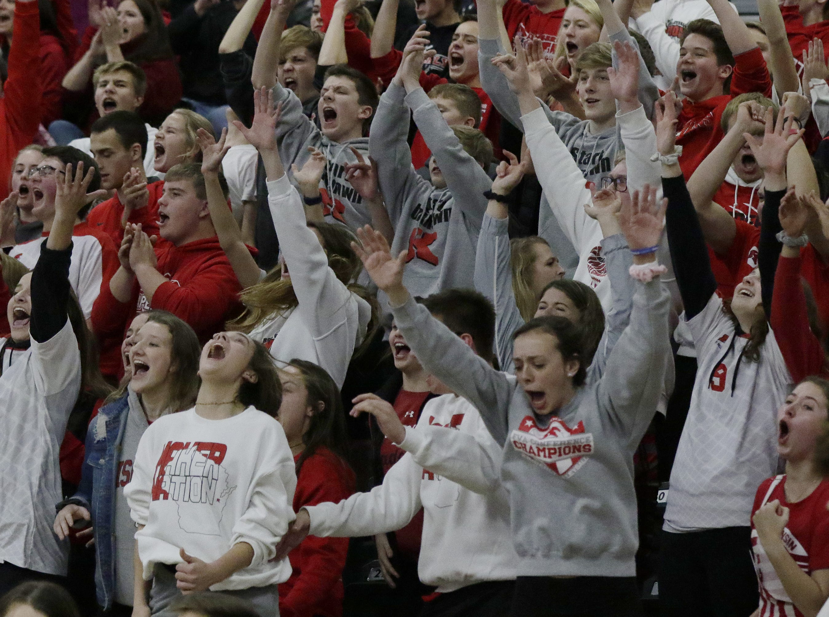 Kimberly's fans celebrate winning their first and only game of the championship.  Kimberly Papermakers played Germantown Warhawks in Division 1 WIAA State Boys Volleyball Championship, Saturday, November 10, 2018 at Wisconsin Lutheran College in Milwaukee, Wis. Joe Sienkiewicz/USA Today NETWORK-Wisconsin