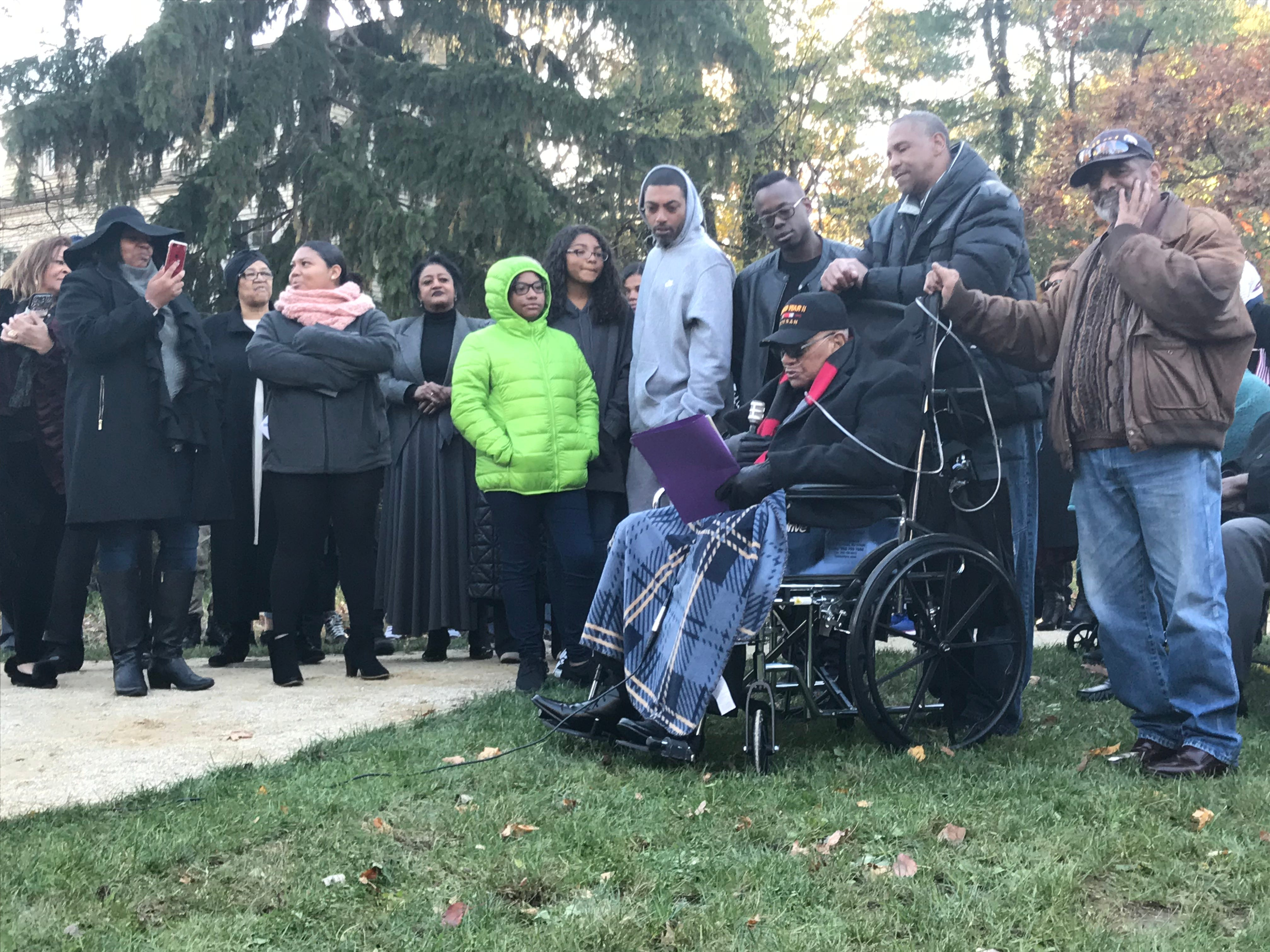 """Bigerton """"Buddy"""" Lewis Jr., who served in World War II with his five late brothers, delivers remarks at a dedication ceremony for his family Nov. 11, 2018, at Veterans Park in Freehold Borough. The pavilion was renamed after him and his brothers."""