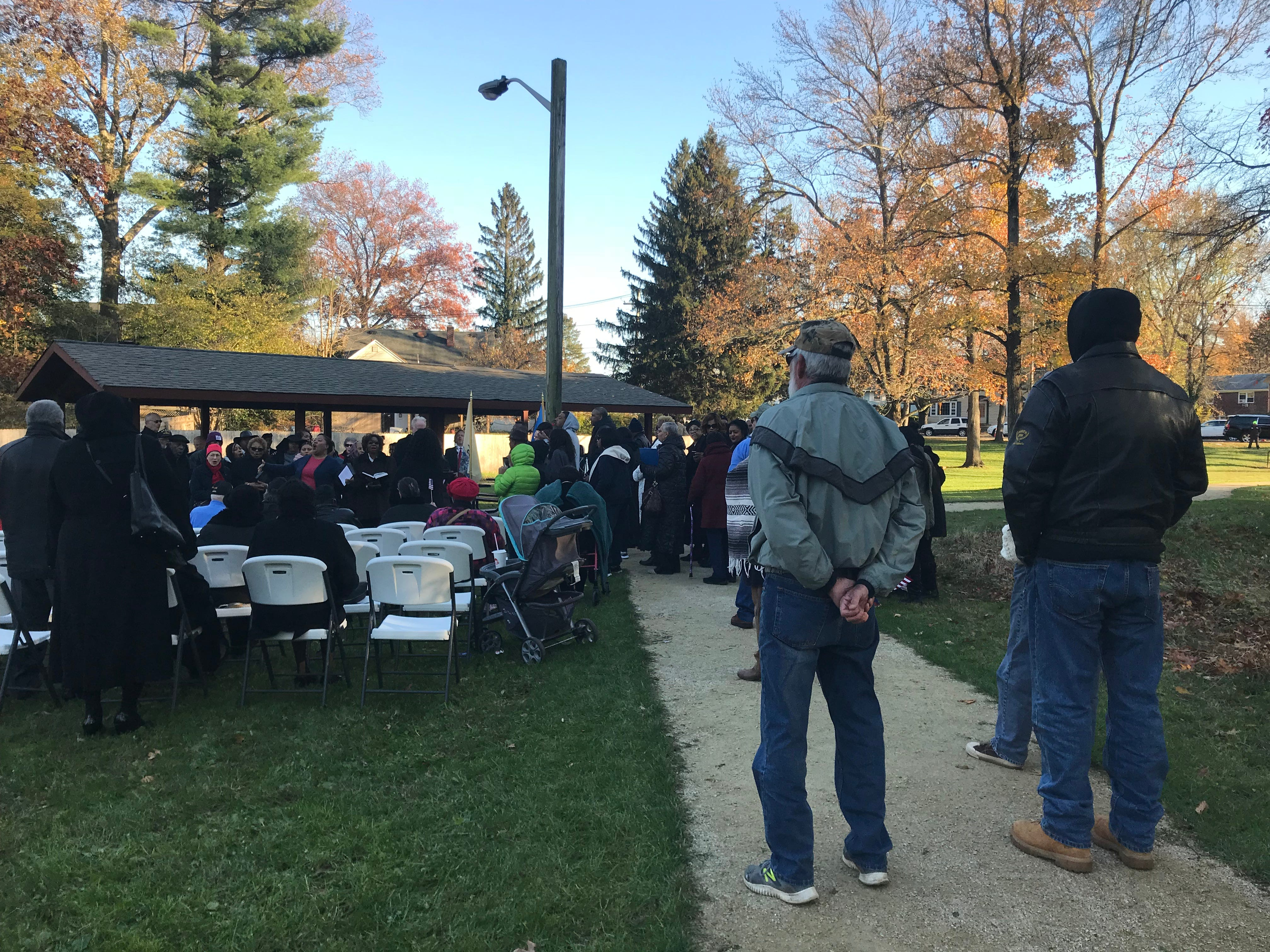 More than 100 people attended the re-dedication ceremony Sunday afternoon at Veterans Park in Freehold. The ceremony commemorated the six Lewis brothers from Freehold Borough who fought in World War II.