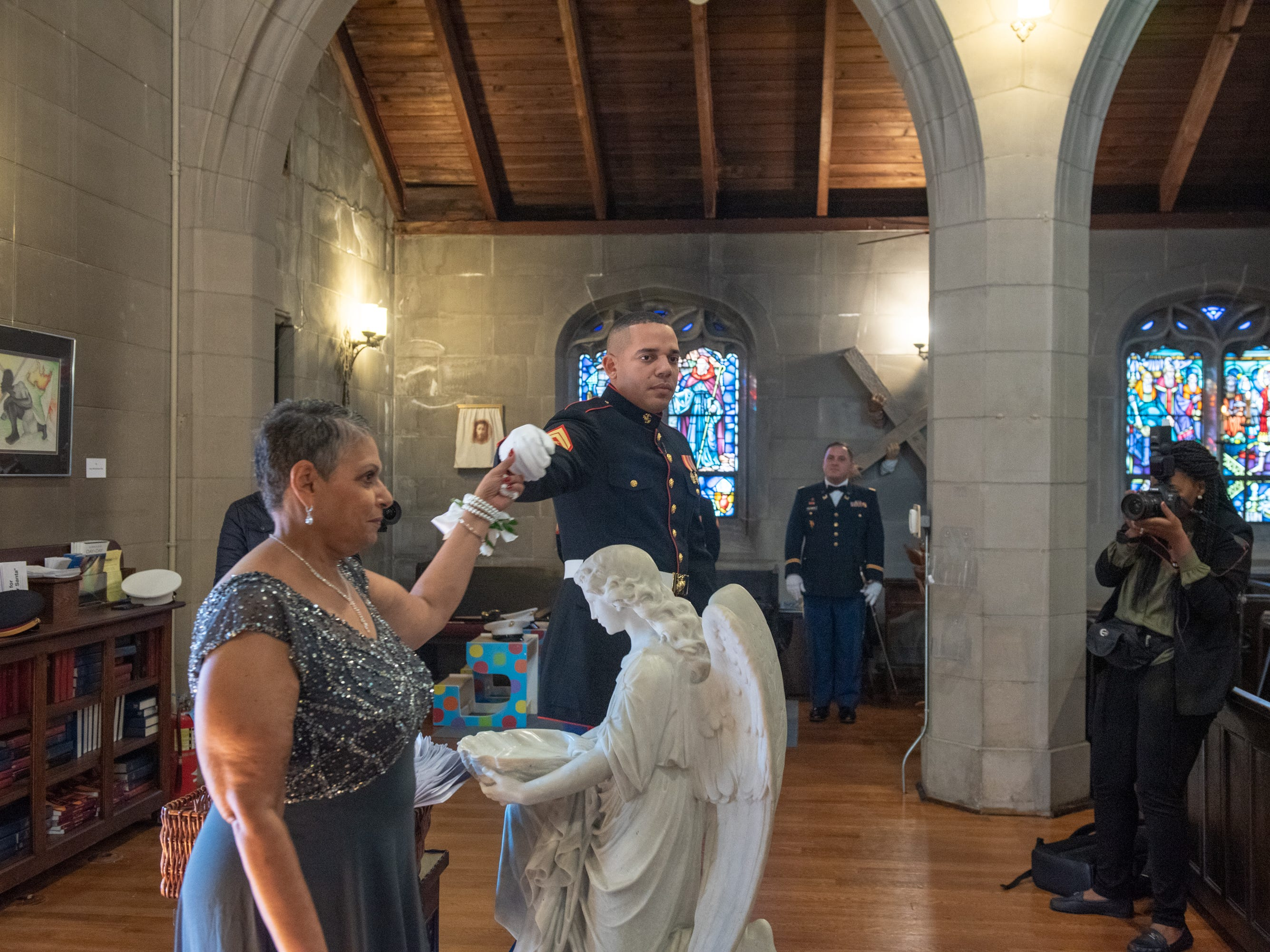 Christian Fuscarino, (not pictured) Executive Director of Garden State Equality, and U.S. Marines Corporal Aaron Williams (pictured here entering) were married at Trinity Church in Asbury Park on Sunday, November 11, 2018.