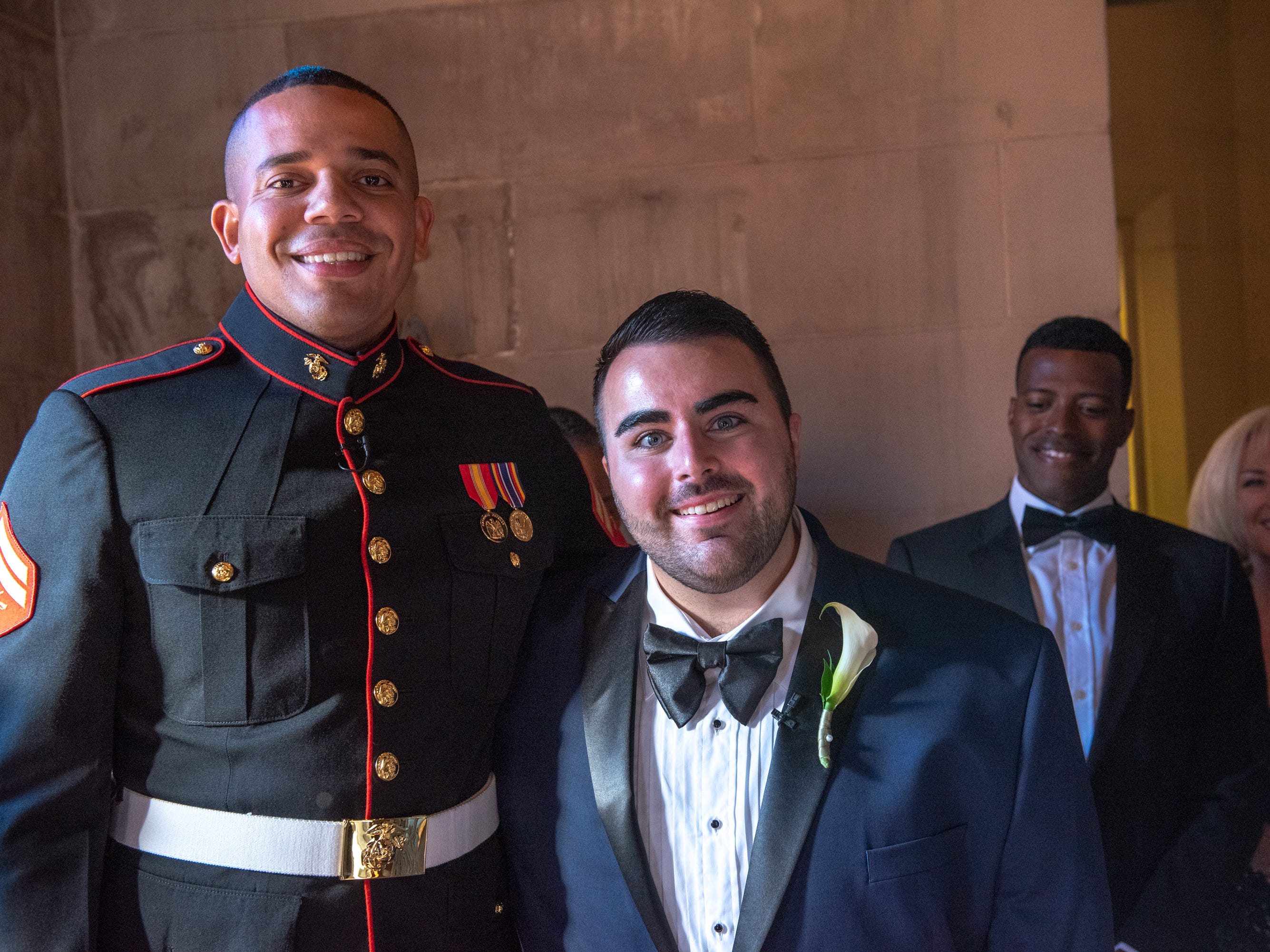 Christian Fuscarino, (RIGHT) Executive Director of Garden State Equality, and U.S. Marines Corporal Aaron Williams  (left) were married at Trinity Church in Asbury Park on Sunday, November 11, 2018.