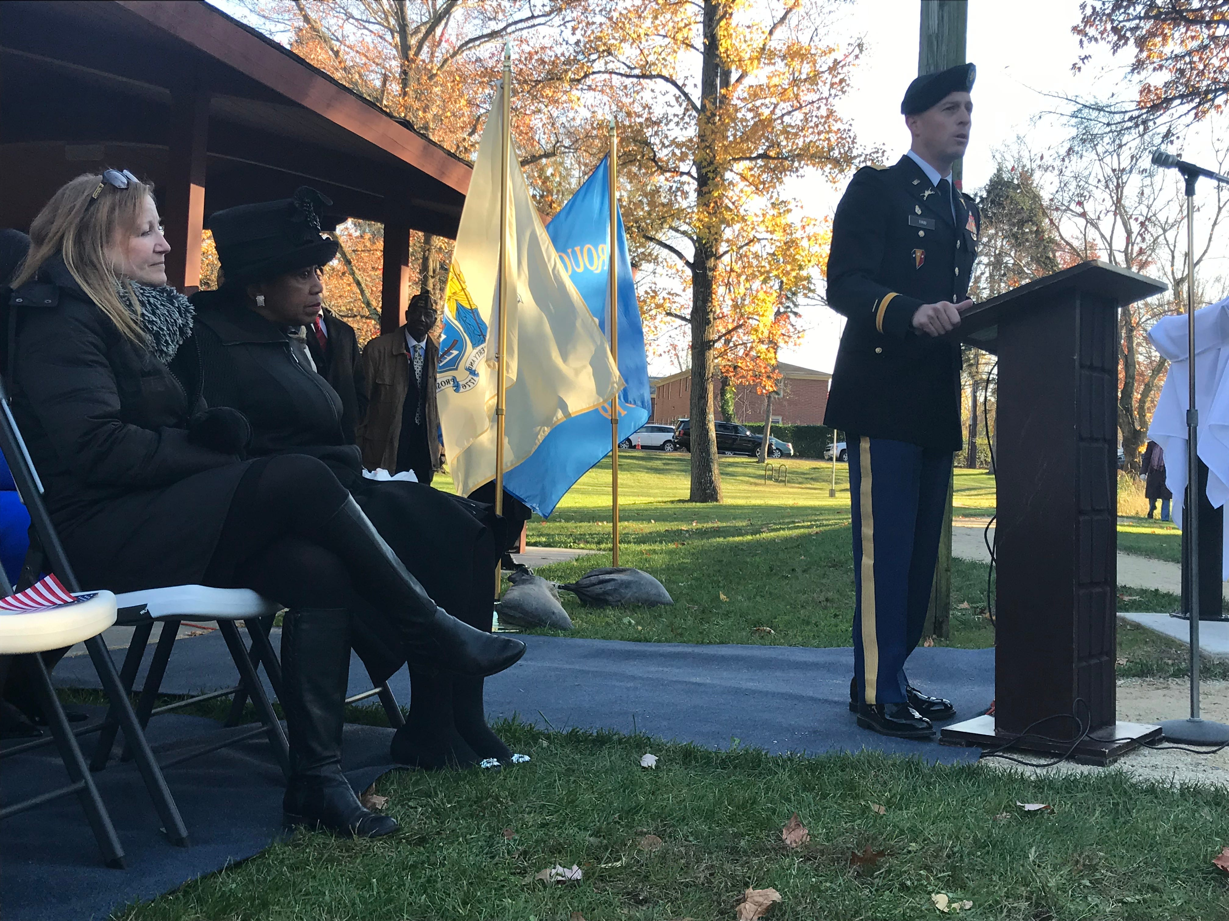 Major Vincent Tirri of the New Jersey Army National Guard, spoke on behalf of Gov. Phil Murphy Sunday at Veterans Park in Freehold Borough. The ceremony commemorated the six Lewis brothers from Freehold Borough who served in World War II.