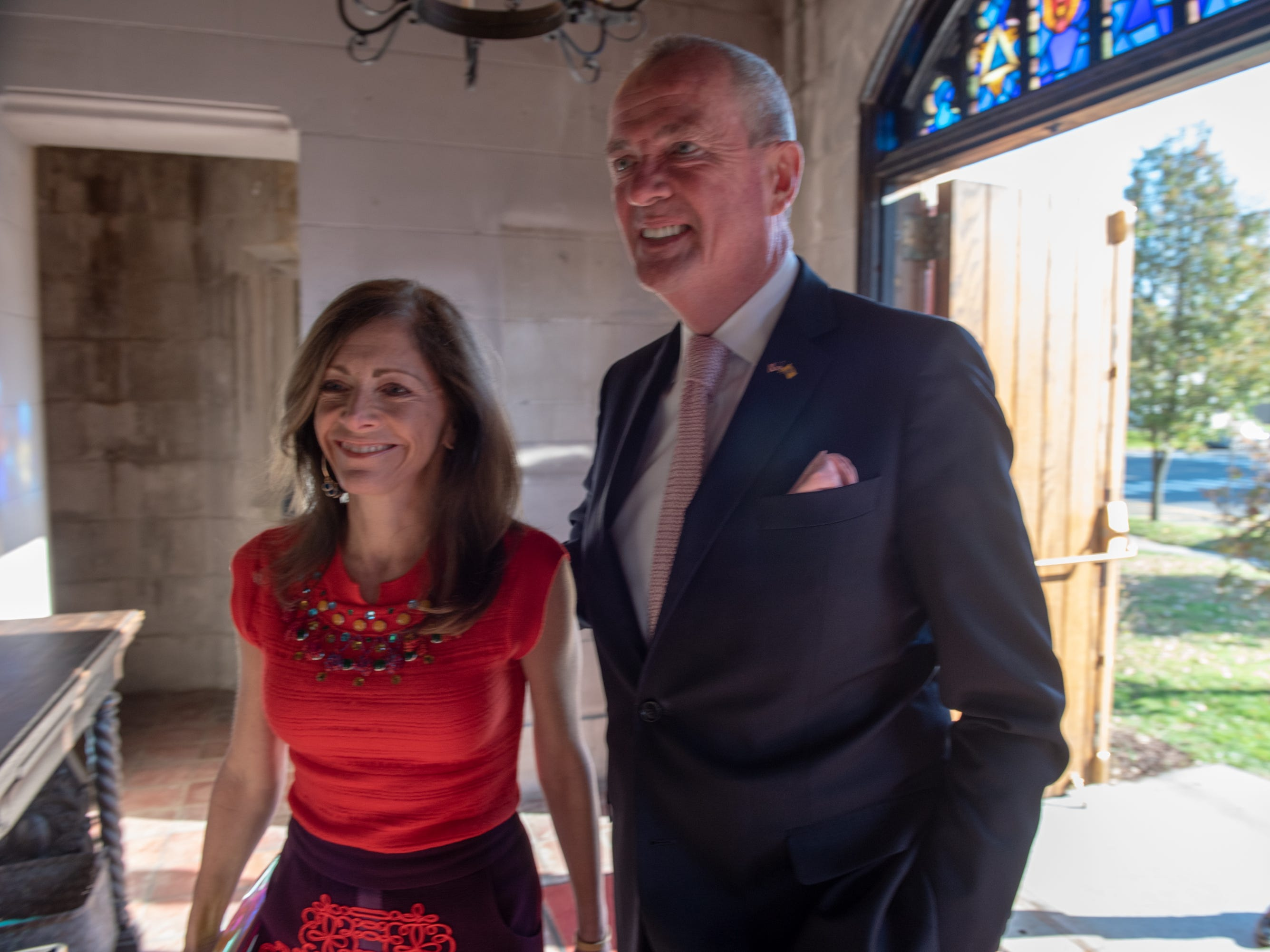 Gov. Phil Murphy and wife Tammy Snyder Murphy enter Trinity Church in Asbury Park.
