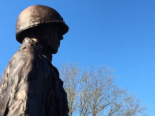 A statue to Gen. Harry Rockafeller, depicted here as a major during World War II's Battle of Bulge, unveiled in Wall. Rockafeller was a lifelong Monmouth County resident.