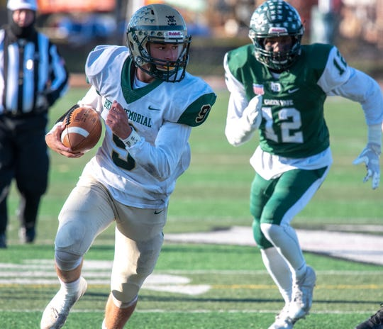 Anthony Albanese (9) scores a first half touchdown. Brick Memorial traveled to Long Branch to play the NJSIAA Central Group IV semifinal football game on Saturday, November 10, 2018. / Russ DeSantis for the Asbury Park Press